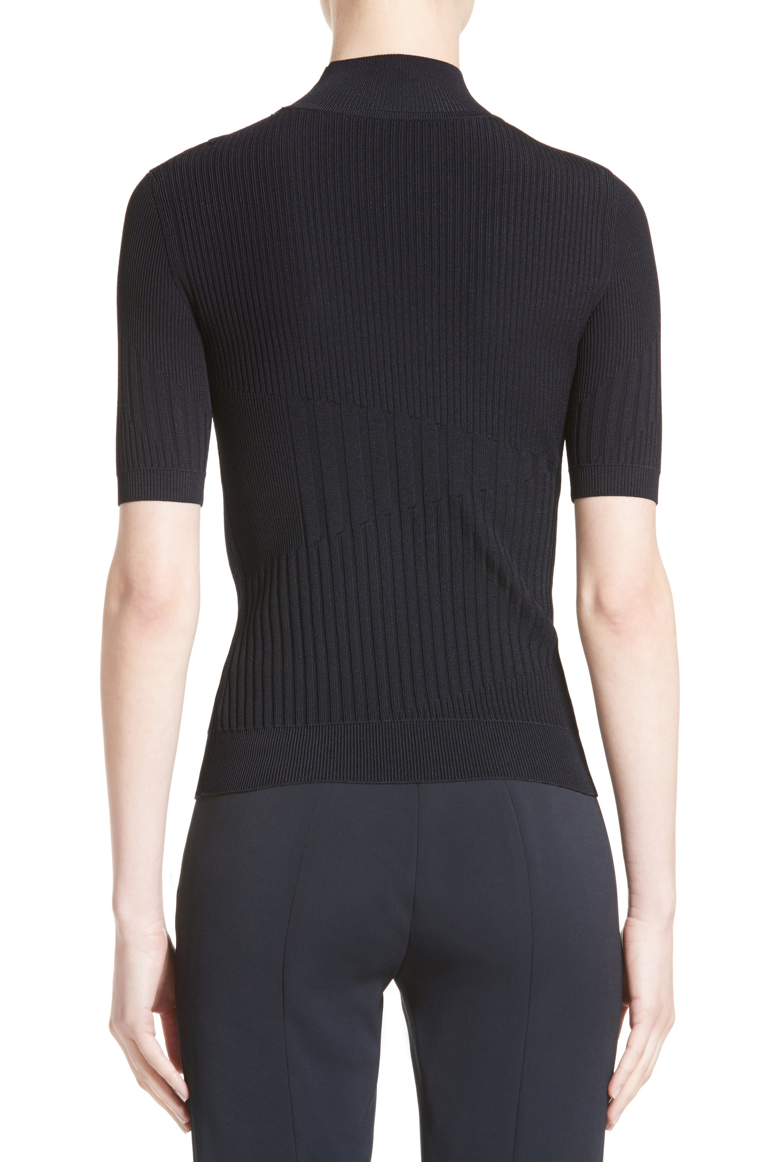 Strappy Cutout Mock Neck Top,                             Alternate thumbnail 2, color,                             Midnight