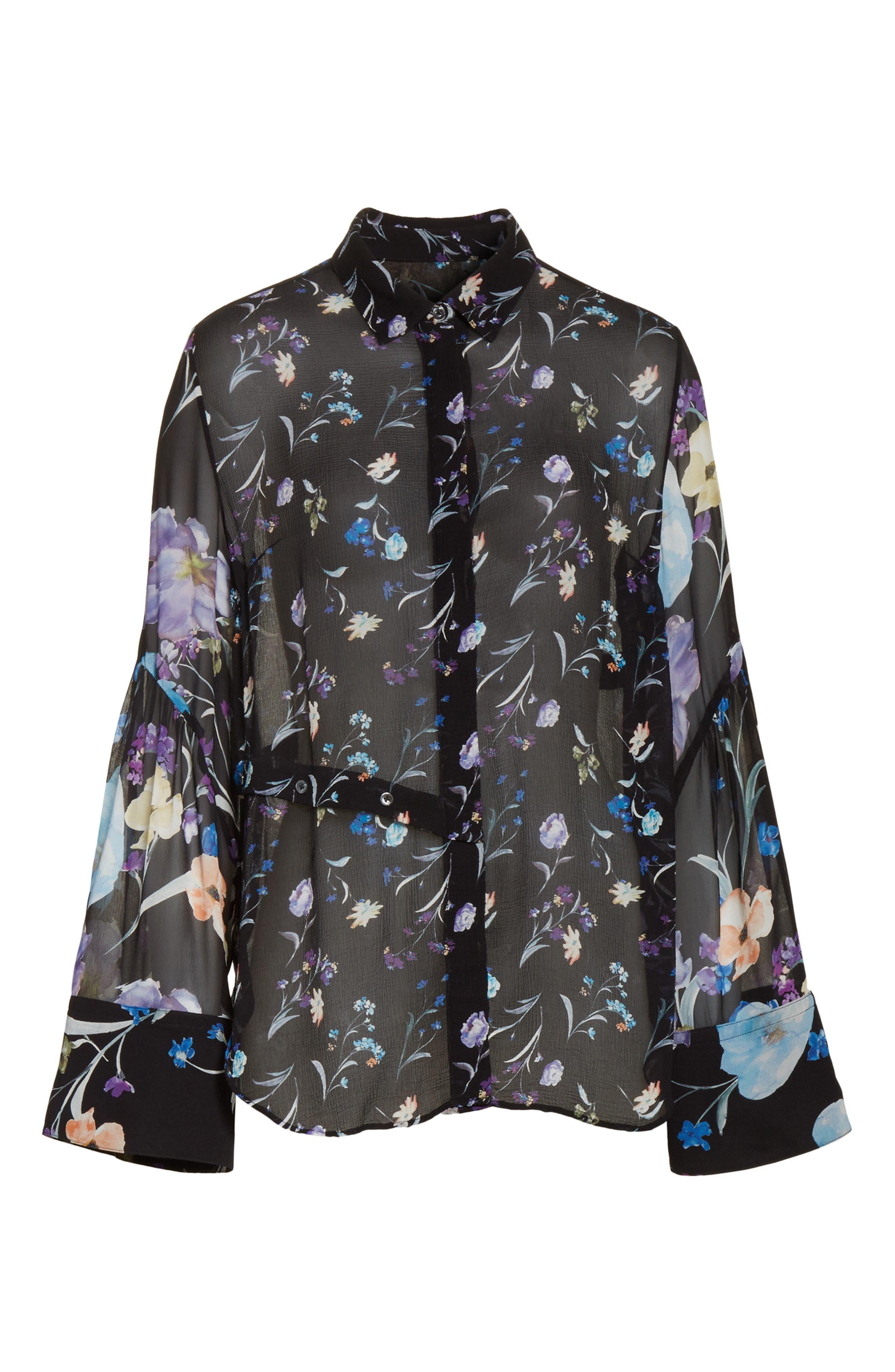 Bell Sleeve Silk Blouse,                             Alternate thumbnail 6, color,                             Black