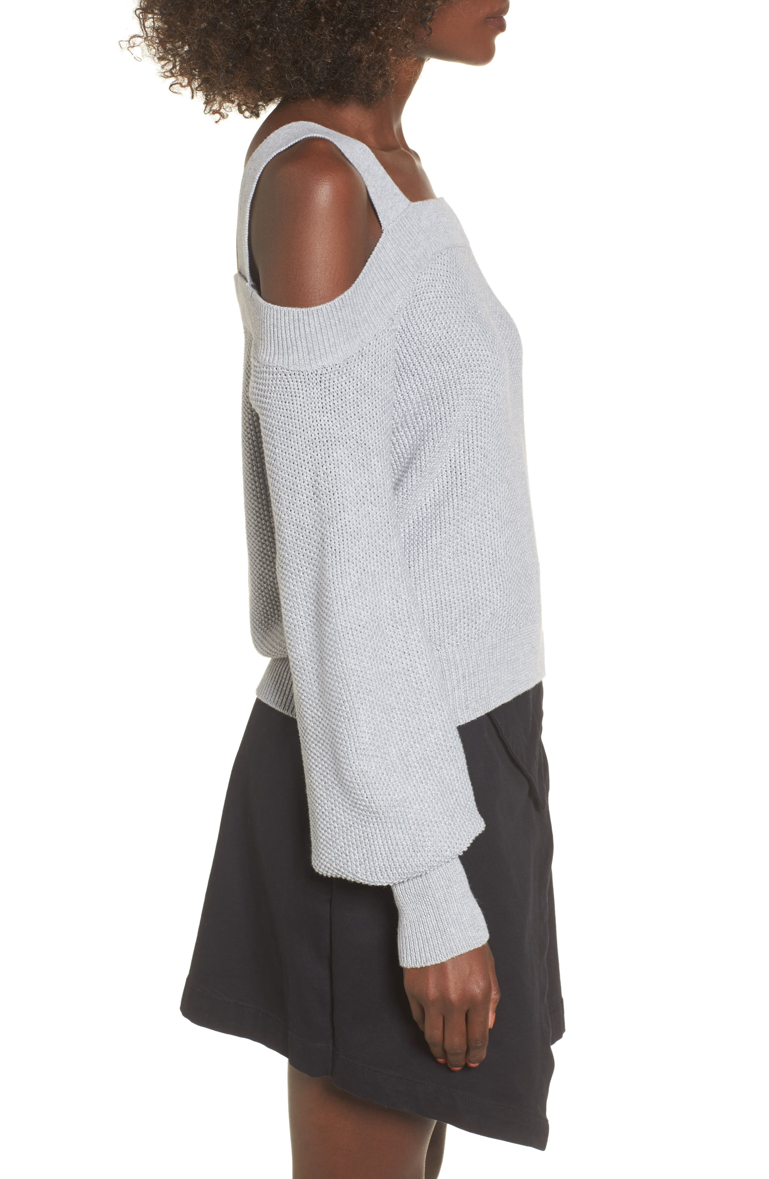 Lexi Cold Shoulder Sweater,                             Alternate thumbnail 4, color,                             Grey Marle