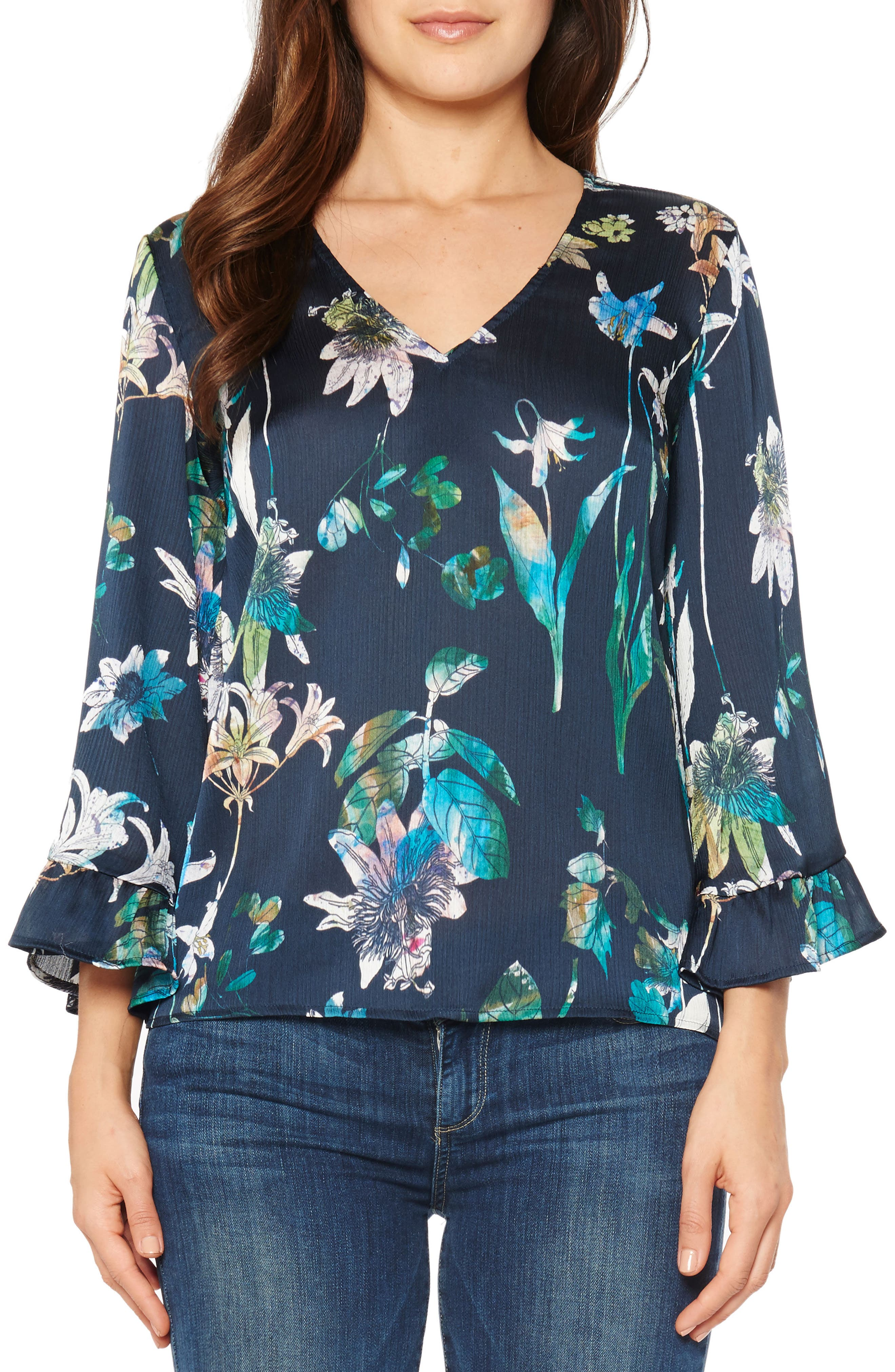 Crinkle Floral Top,                         Main,                         color, Navy