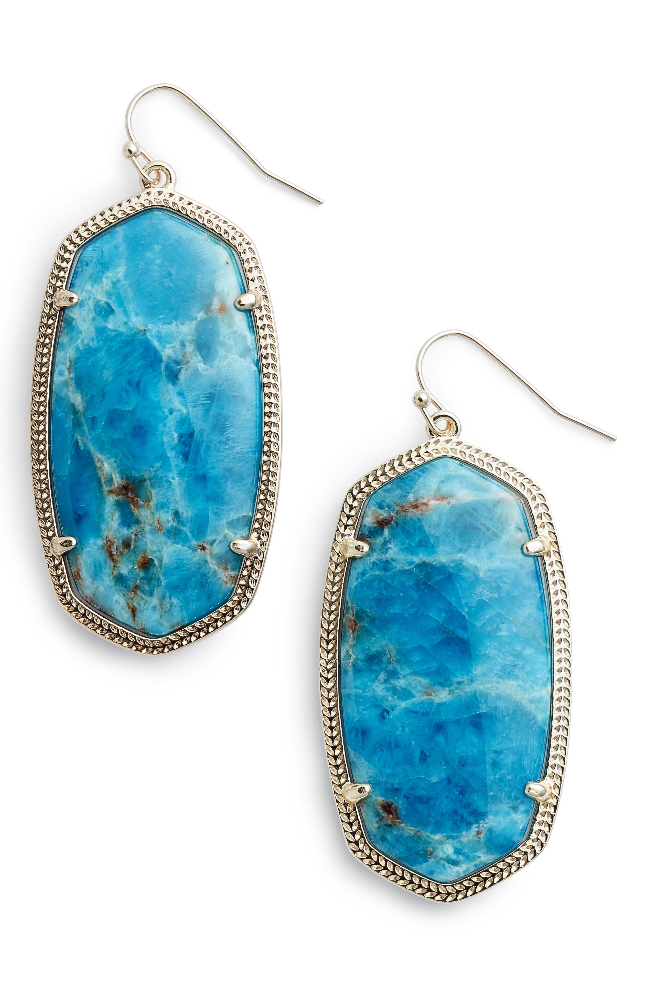 Danielle - Large Oval Statement Earrings,                         Main,                         color, Aqua Apatite/ Brass