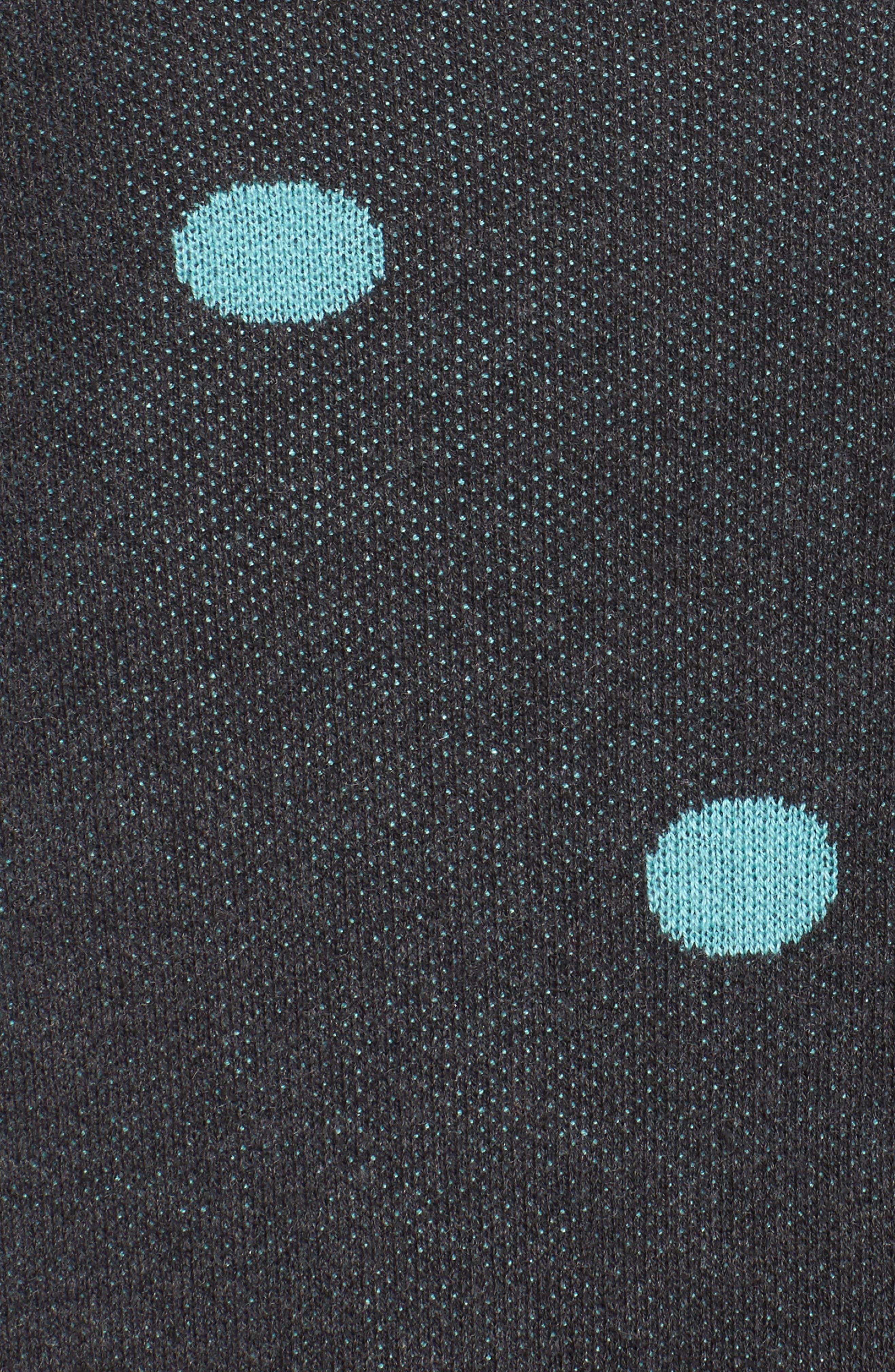 Dolman Sleeve Crewneck Sweater,                             Alternate thumbnail 5, color,                             Grey- Blue Dots Pattern