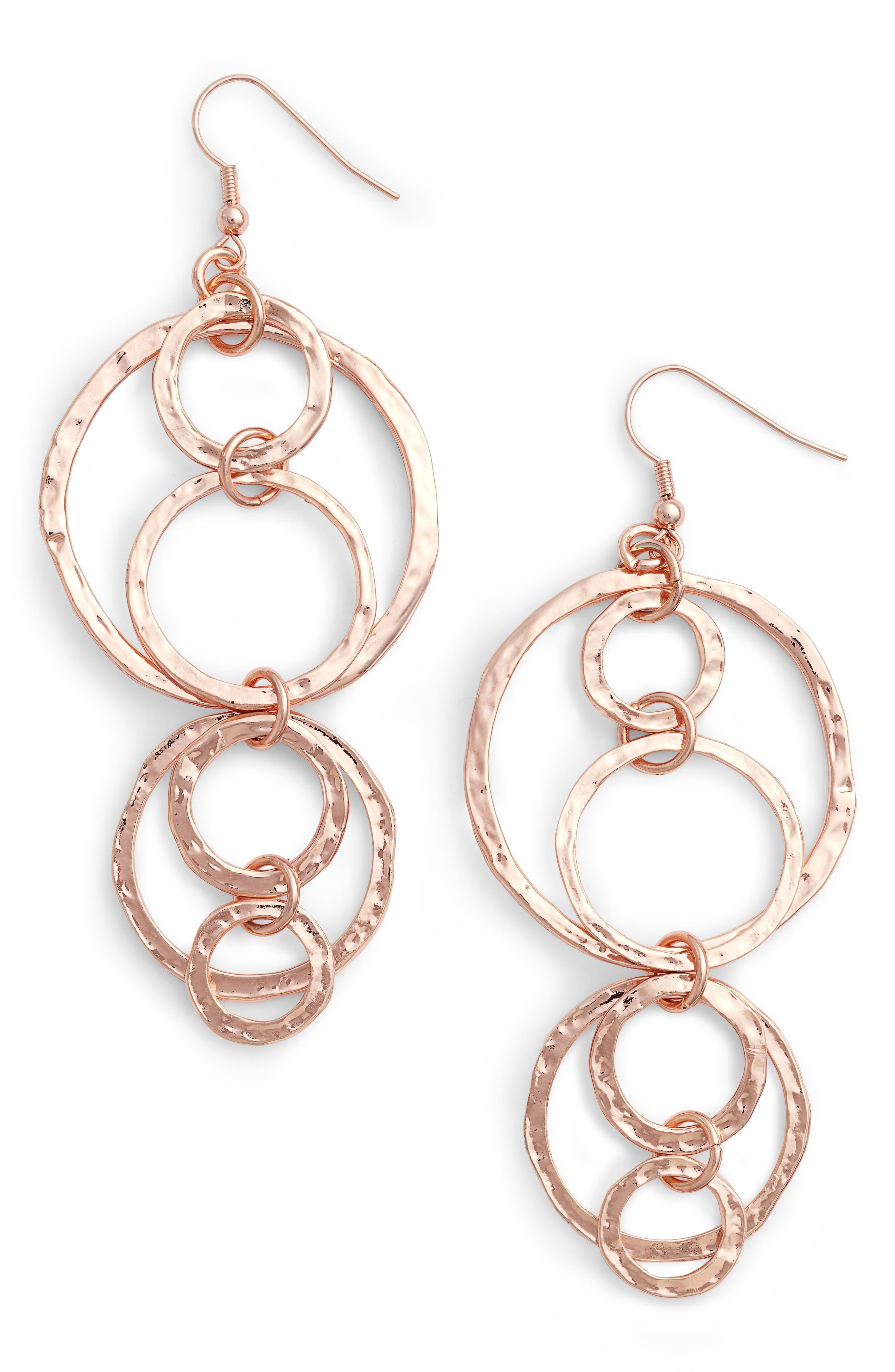 Drop Earrings,                         Main,                         color, Rose Gold