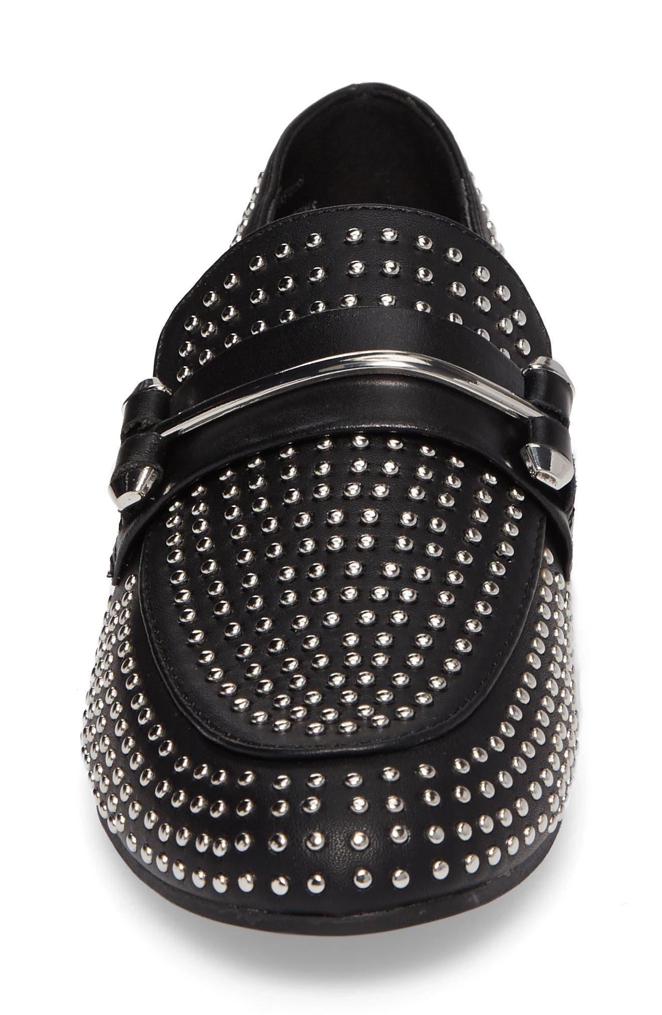 Kast Studded Loafer,                             Alternate thumbnail 4, color,                             Black Faux Leather