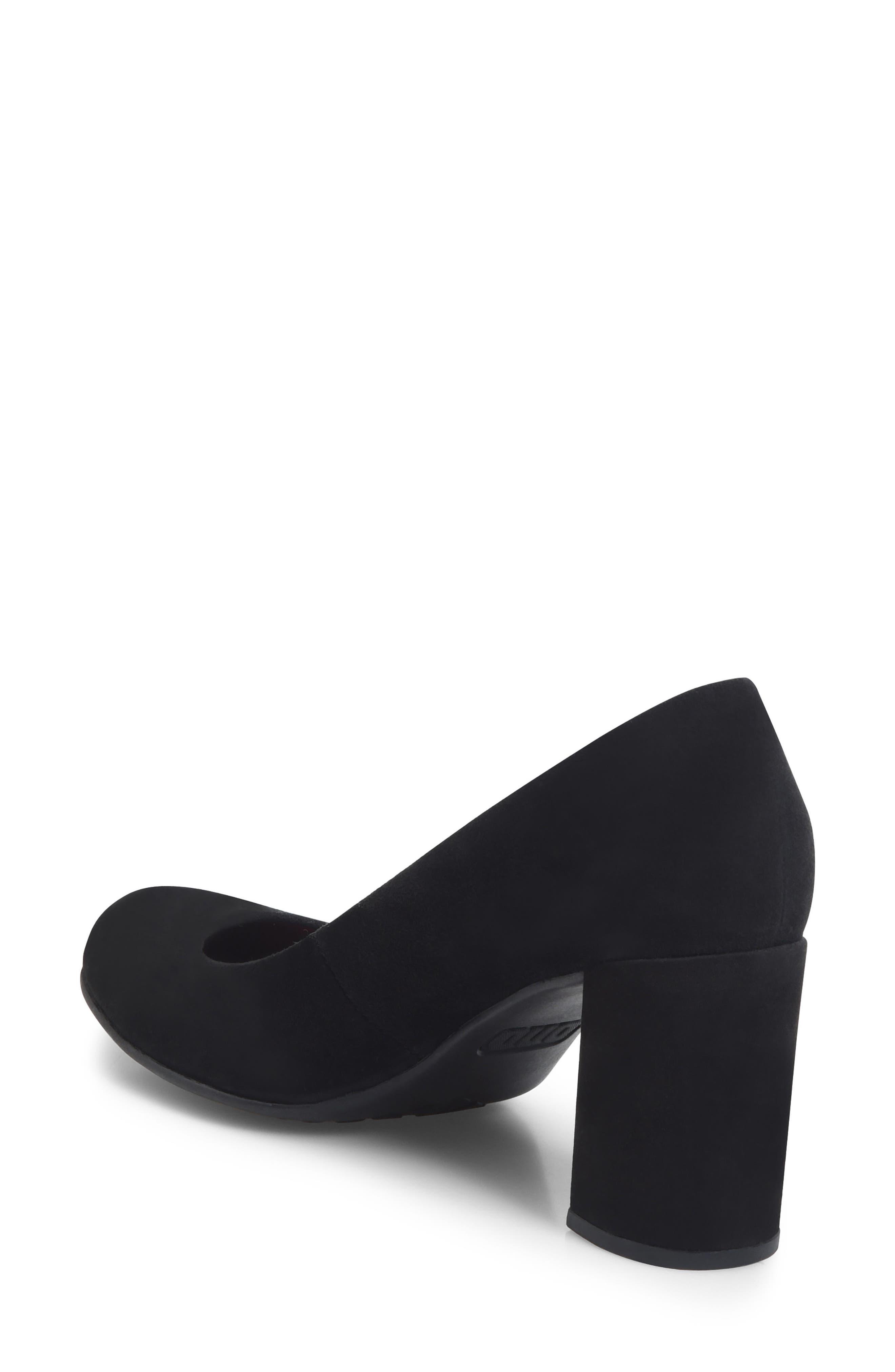 Alpena Block Heel Pump,                             Alternate thumbnail 2, color,                             Black Suede