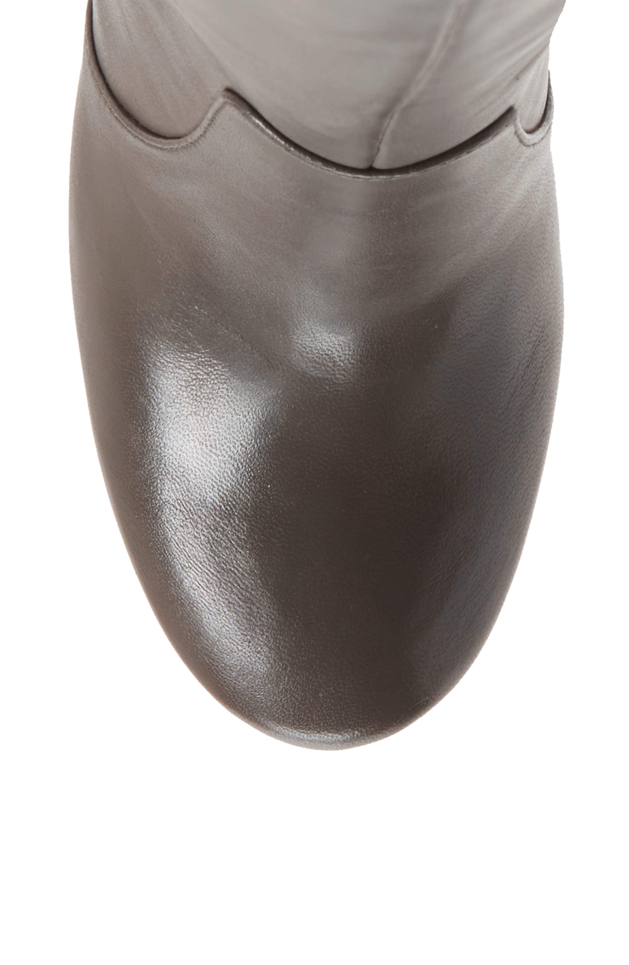 Roslin Knee High Boot,                             Alternate thumbnail 5, color,                             Graphite Leather