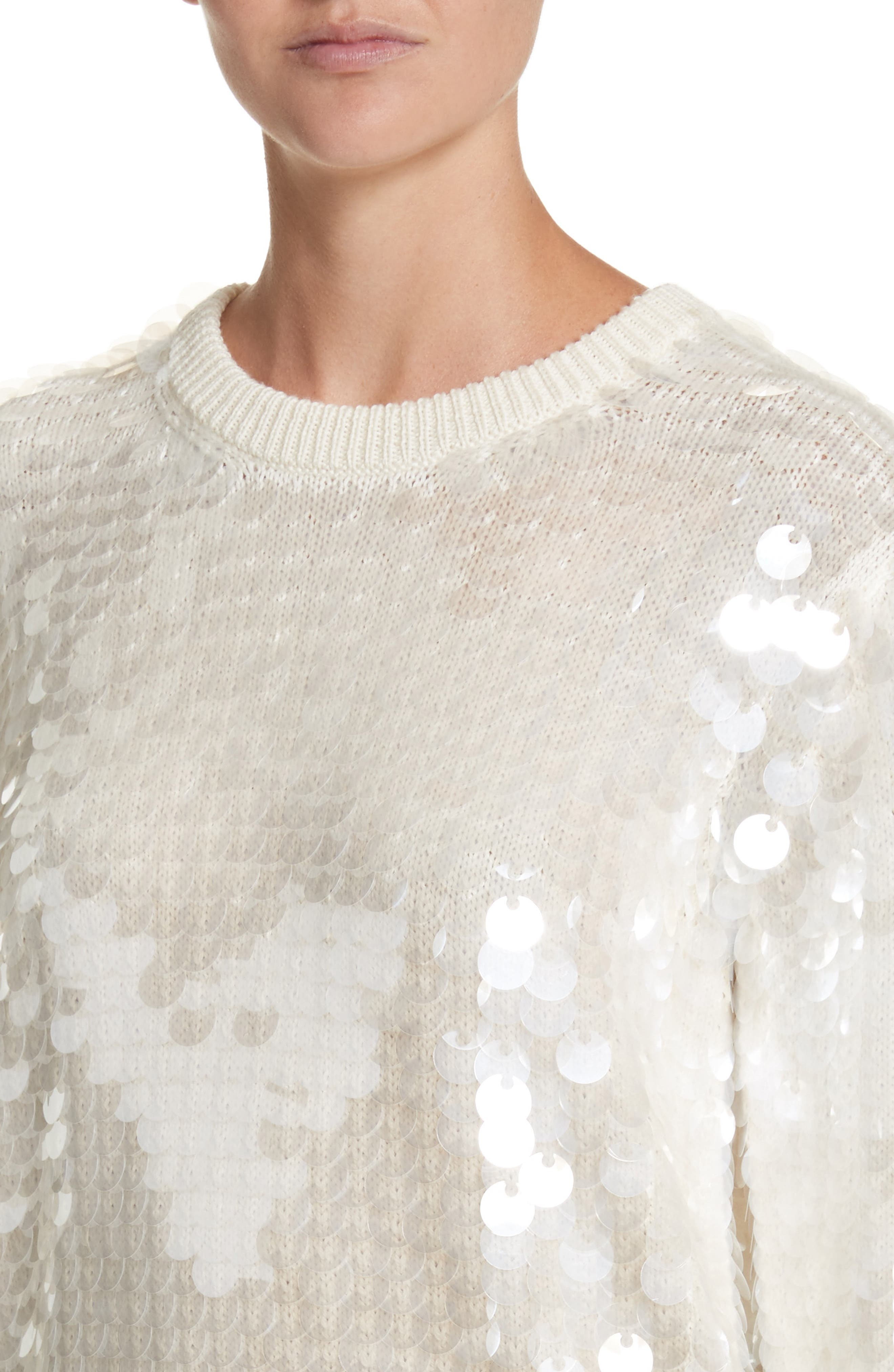 Sequin Wool Sweater,                             Alternate thumbnail 4, color,                             Ivory