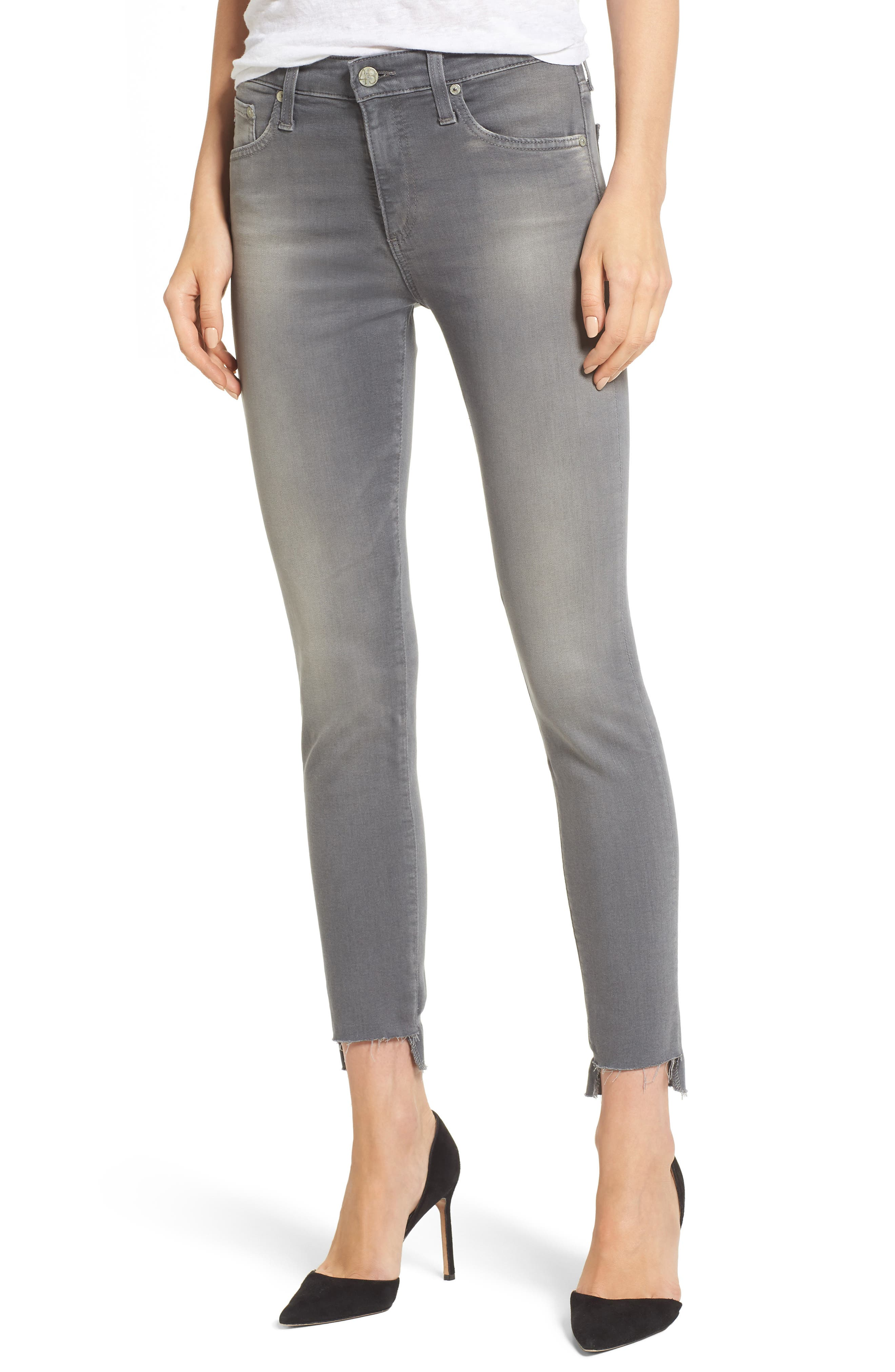 Farrah High Waist Ankle Skinny Jeans,                         Main,                         color, 10 Years Grey Shadow