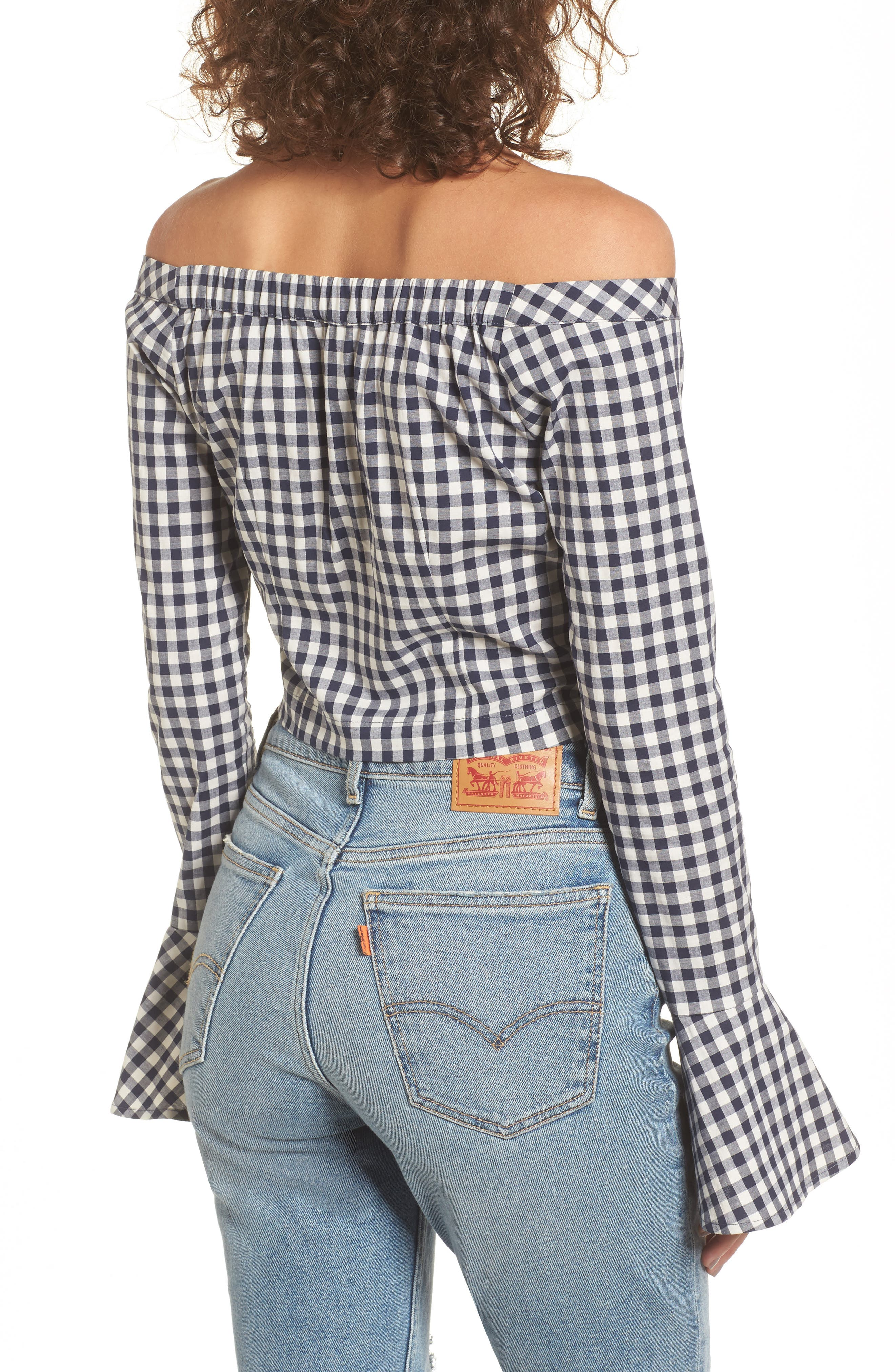 Bell Sleeve Off the Shoulder Crop Top,                             Alternate thumbnail 2, color,                             Navy/ White Gingham