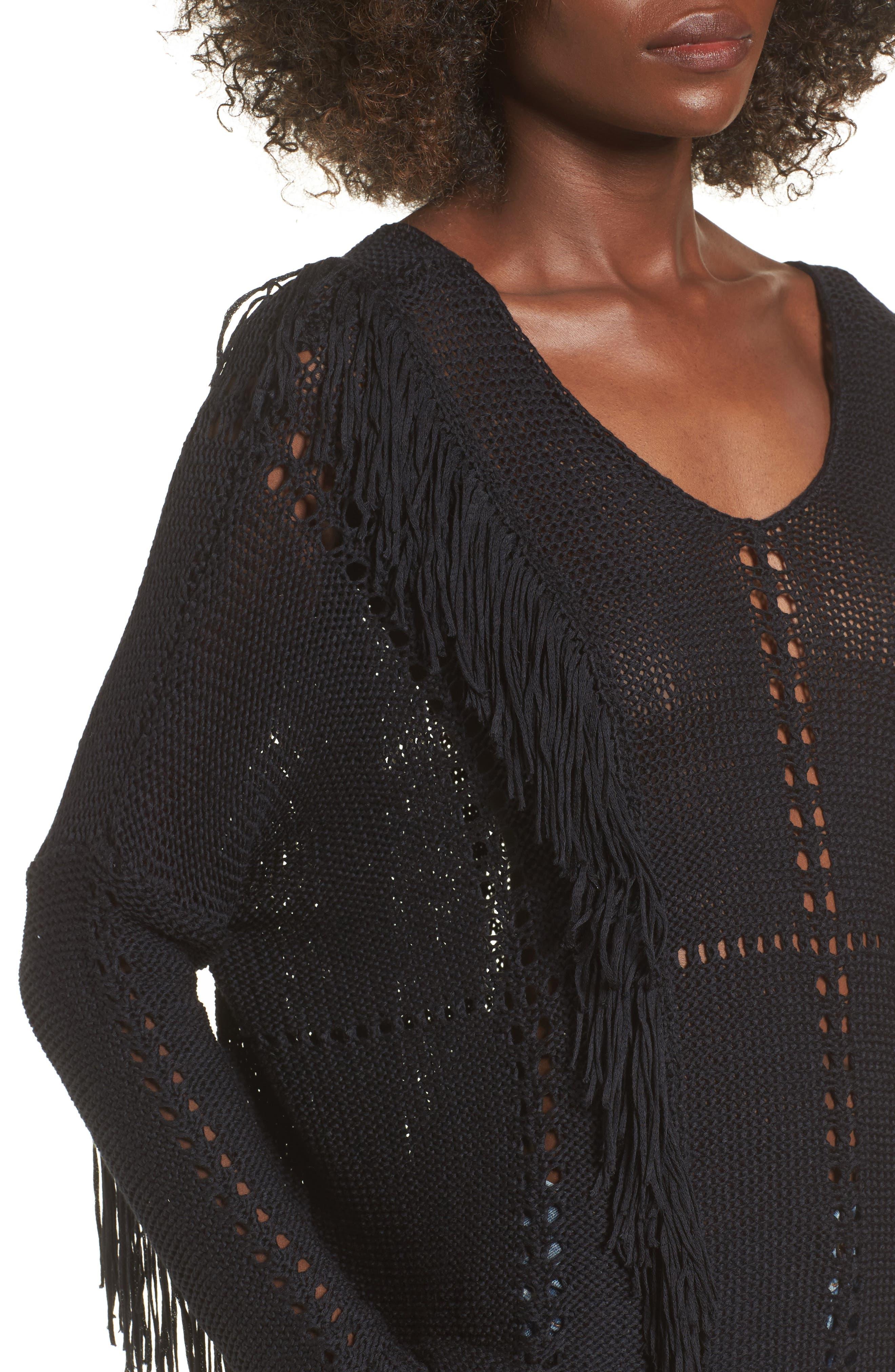 Enya Fringe Sweater,                             Alternate thumbnail 4, color,                             Black