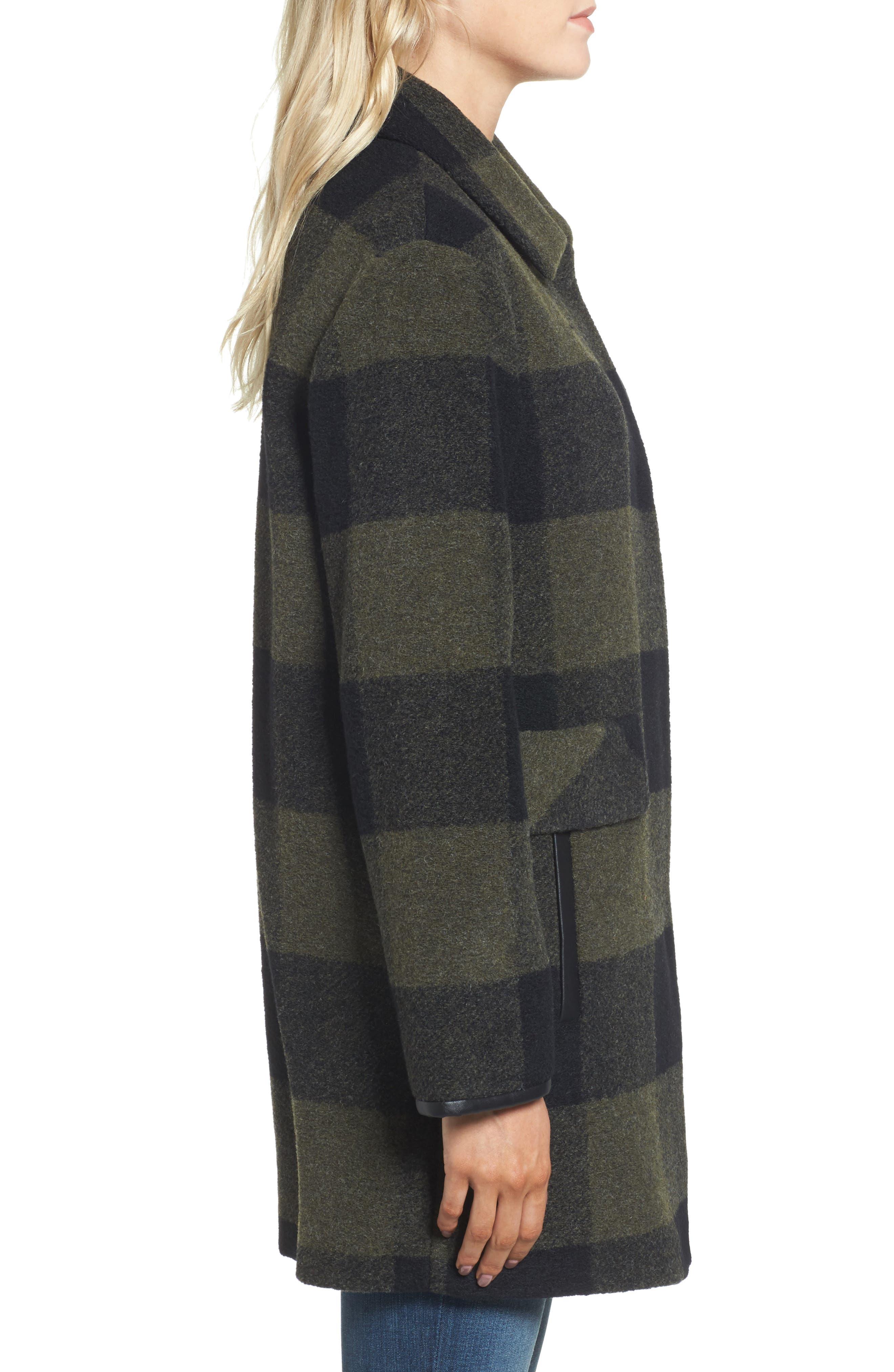 Paul Bunyan Plaid Wool Blend Barn Coat,                             Alternate thumbnail 3, color,                             Olive/ Black Plaid