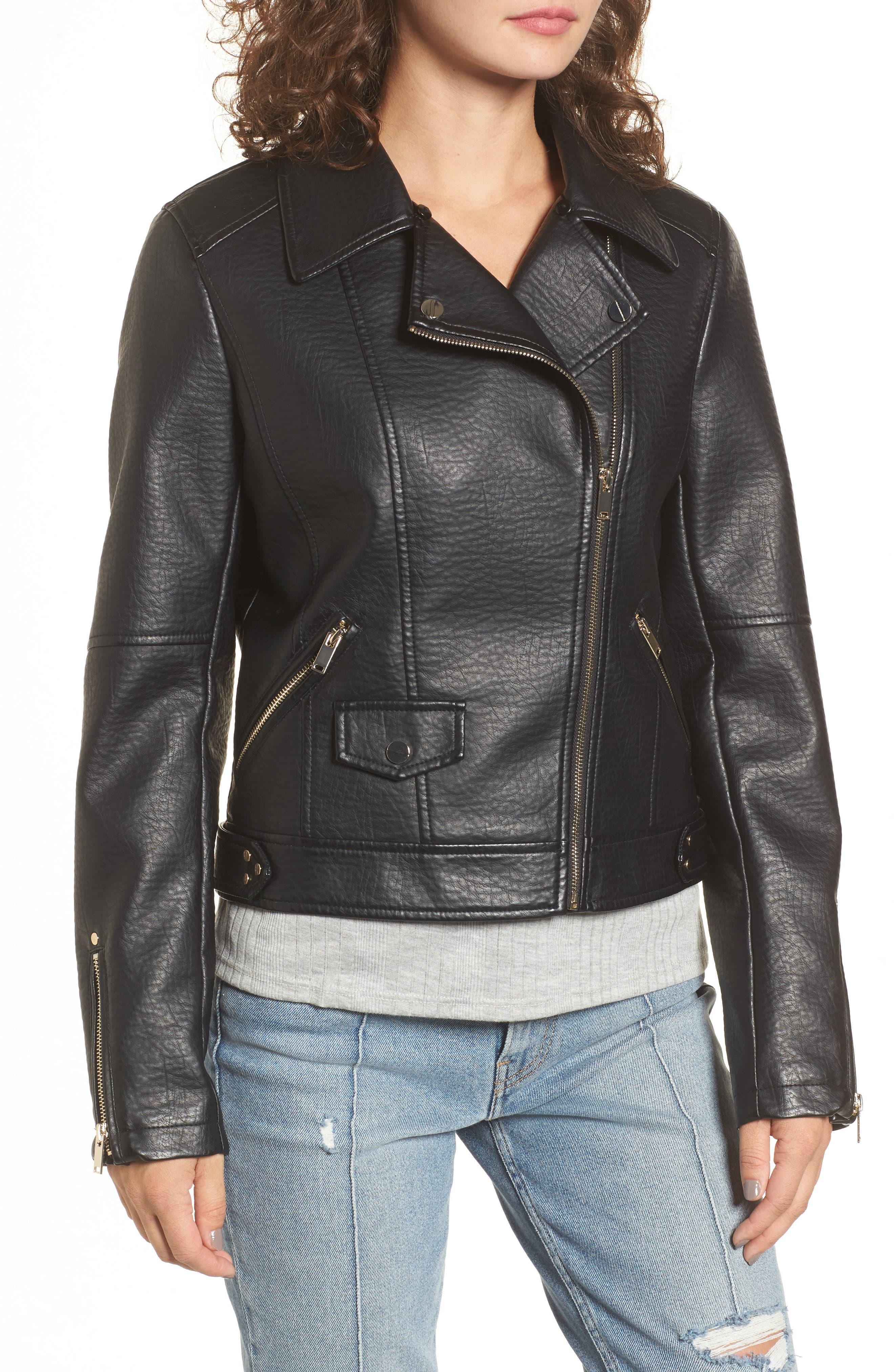 Textured Faux Leather Jacket with Removable Faux Fur Trim,                             Alternate thumbnail 4, color,                             Black