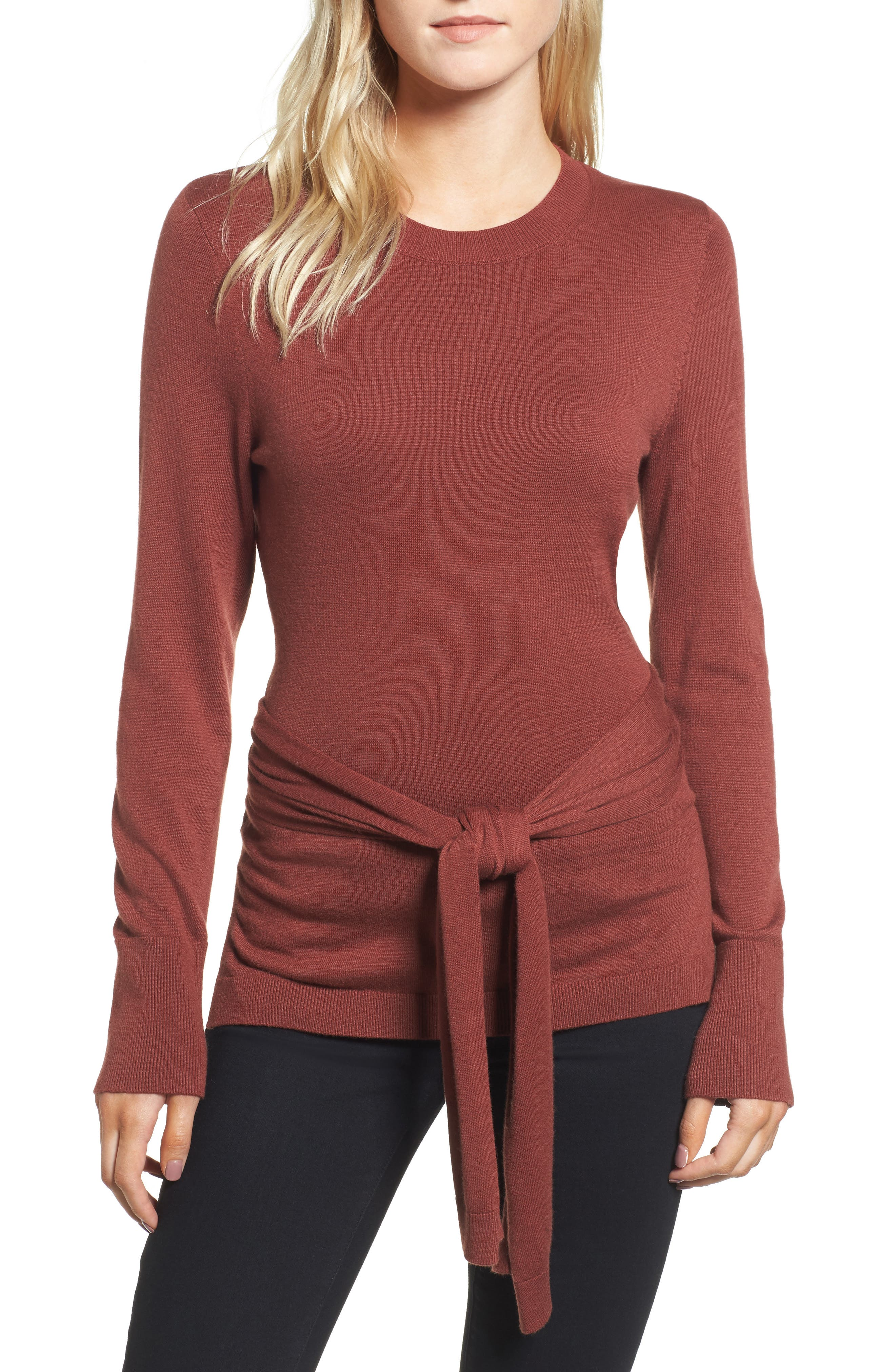 Tie Back Sweater,                             Alternate thumbnail 4, color,                             Rust Madder