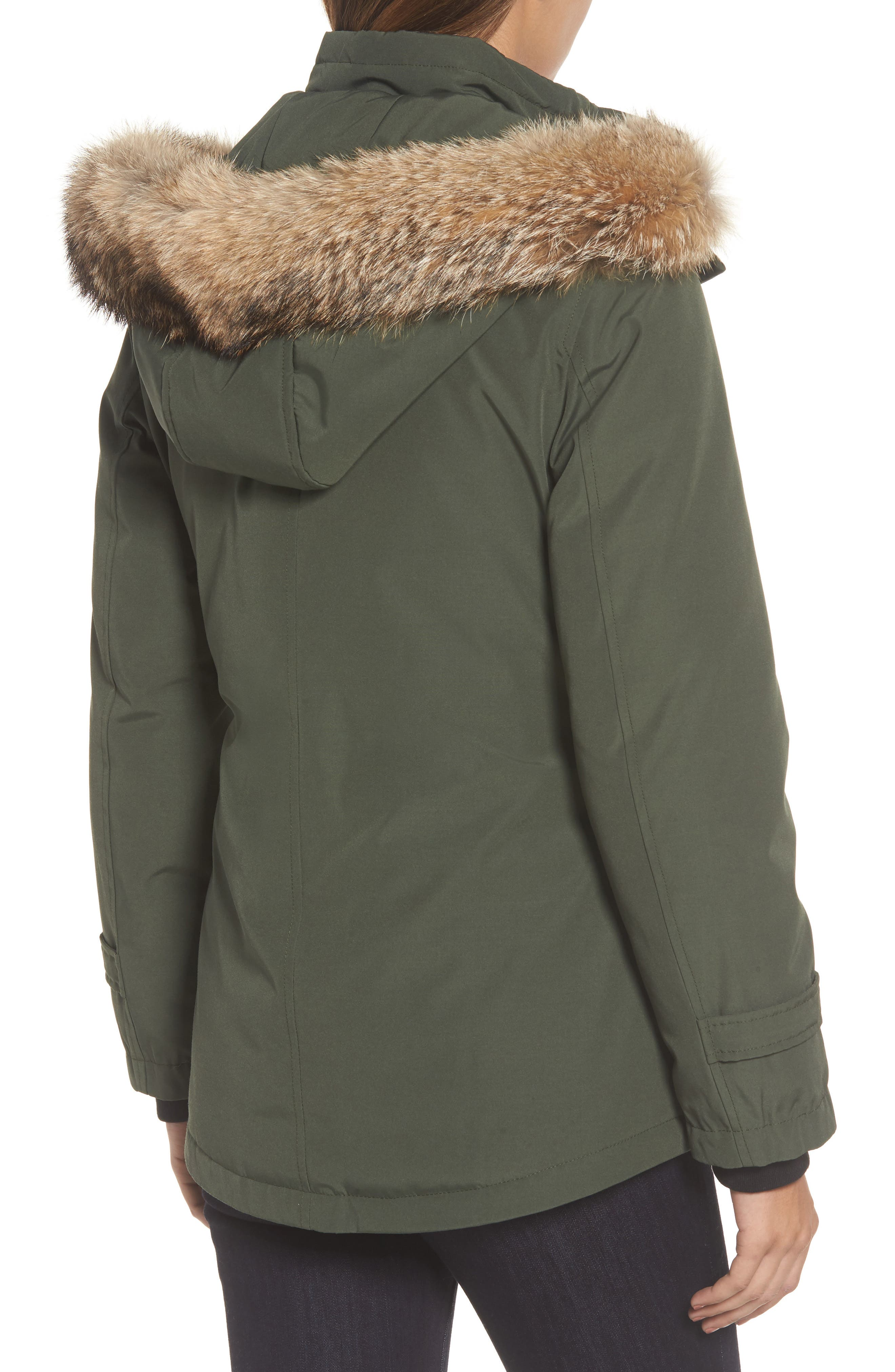 Bachelor Water Repellent Hooded Down Parka with Genuine Coyote Fur Trim,                             Alternate thumbnail 2, color,                             Olive
