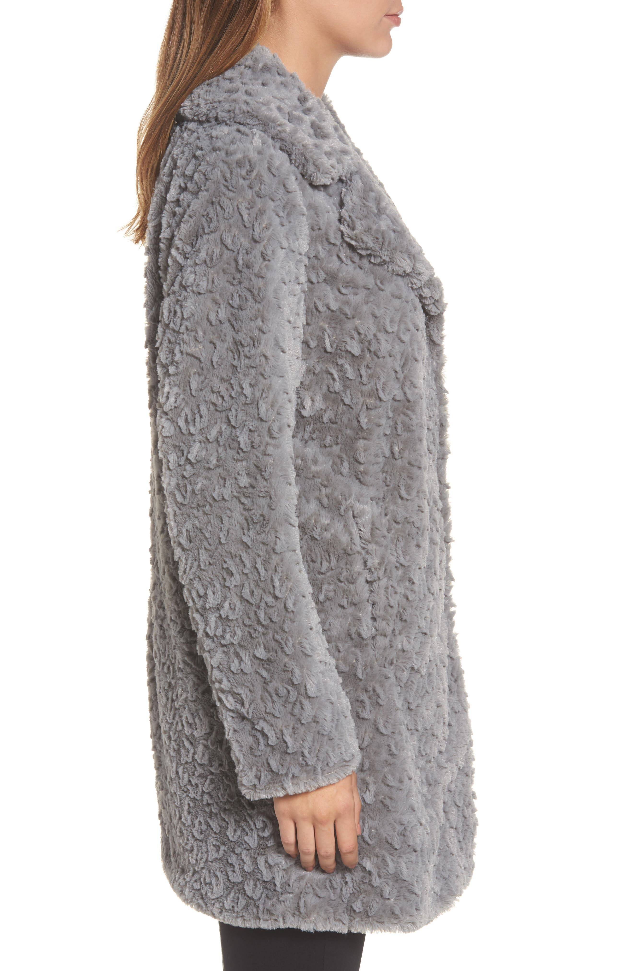 Faux Fur Coat,                             Alternate thumbnail 3, color,                             Grey