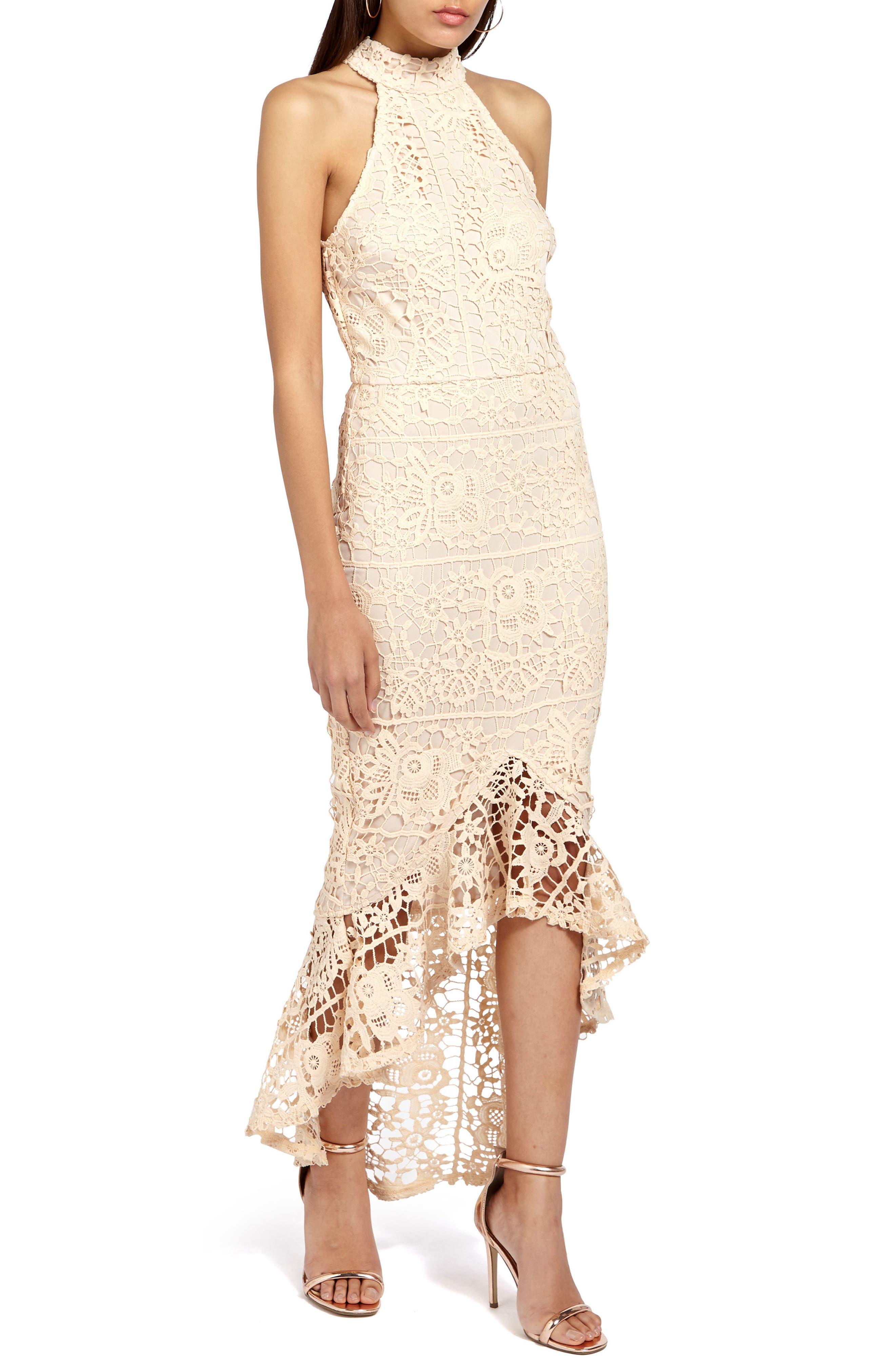 Lace Body-Con Dress,                         Main,                         color, Nude