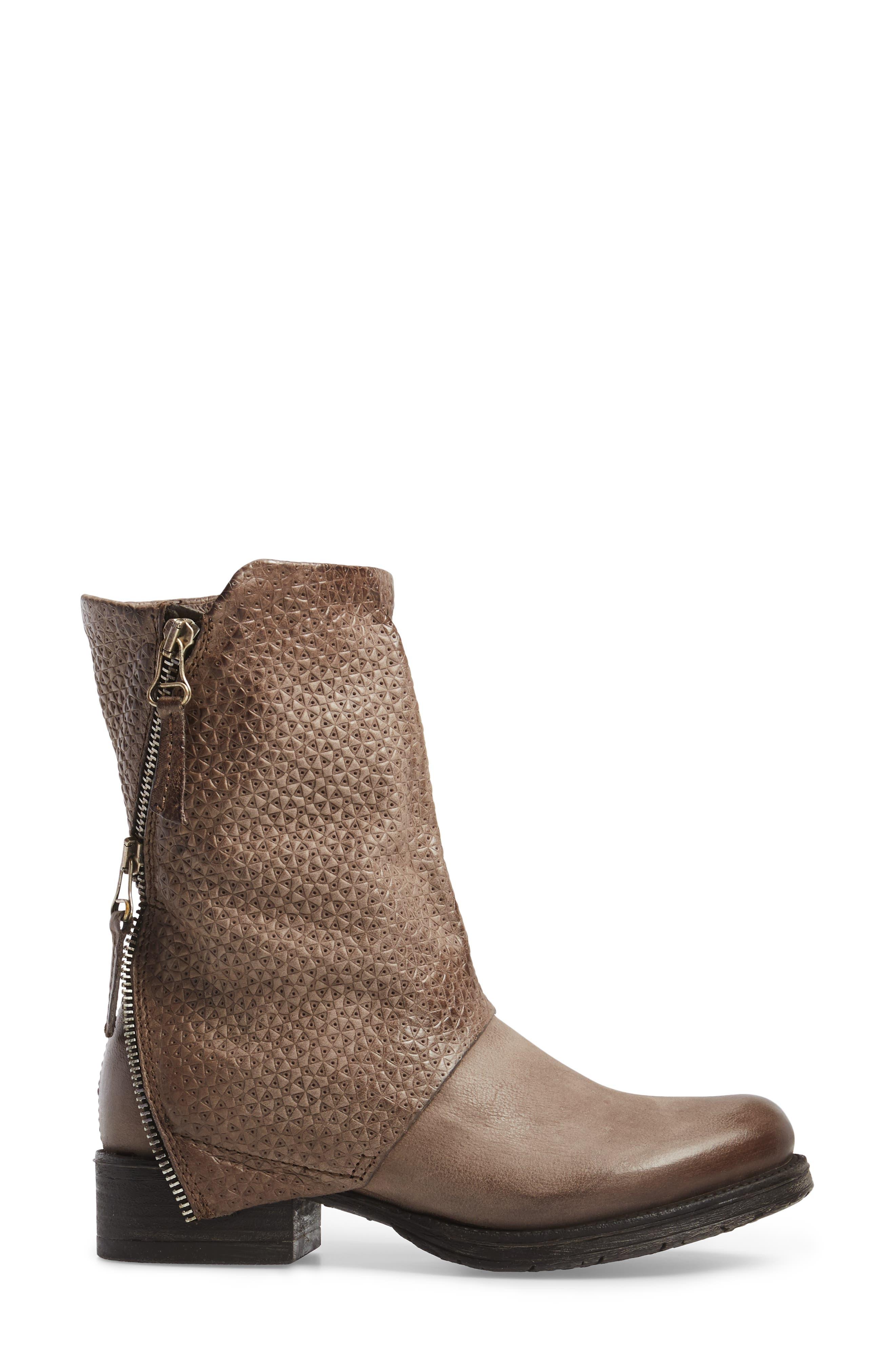 Nugget Asymmetrical Textured Boot,                             Alternate thumbnail 3, color,                             Ash