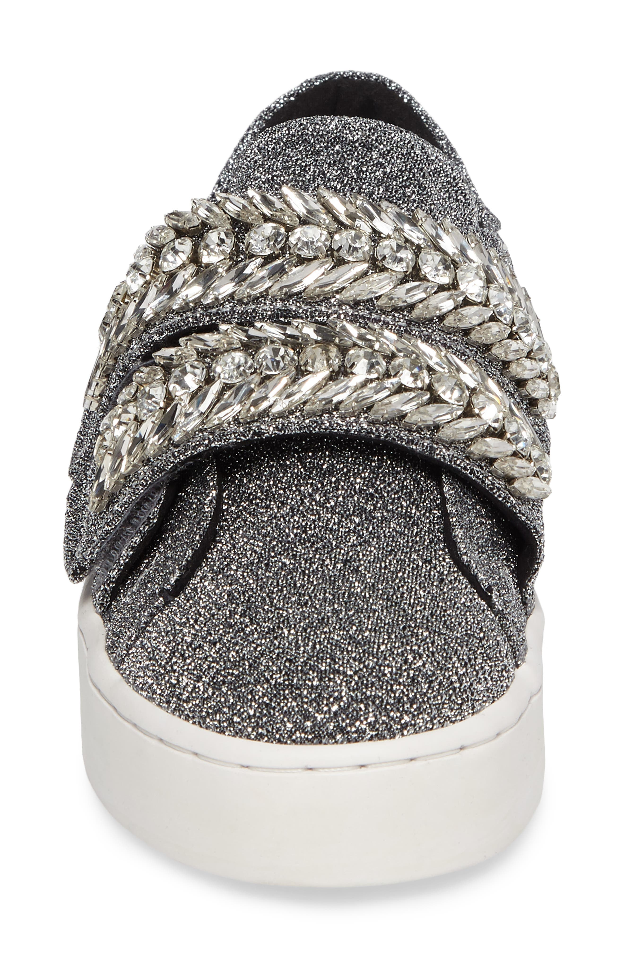 Crystal Embellished Sneaker,                             Alternate thumbnail 4, color,                             Silver