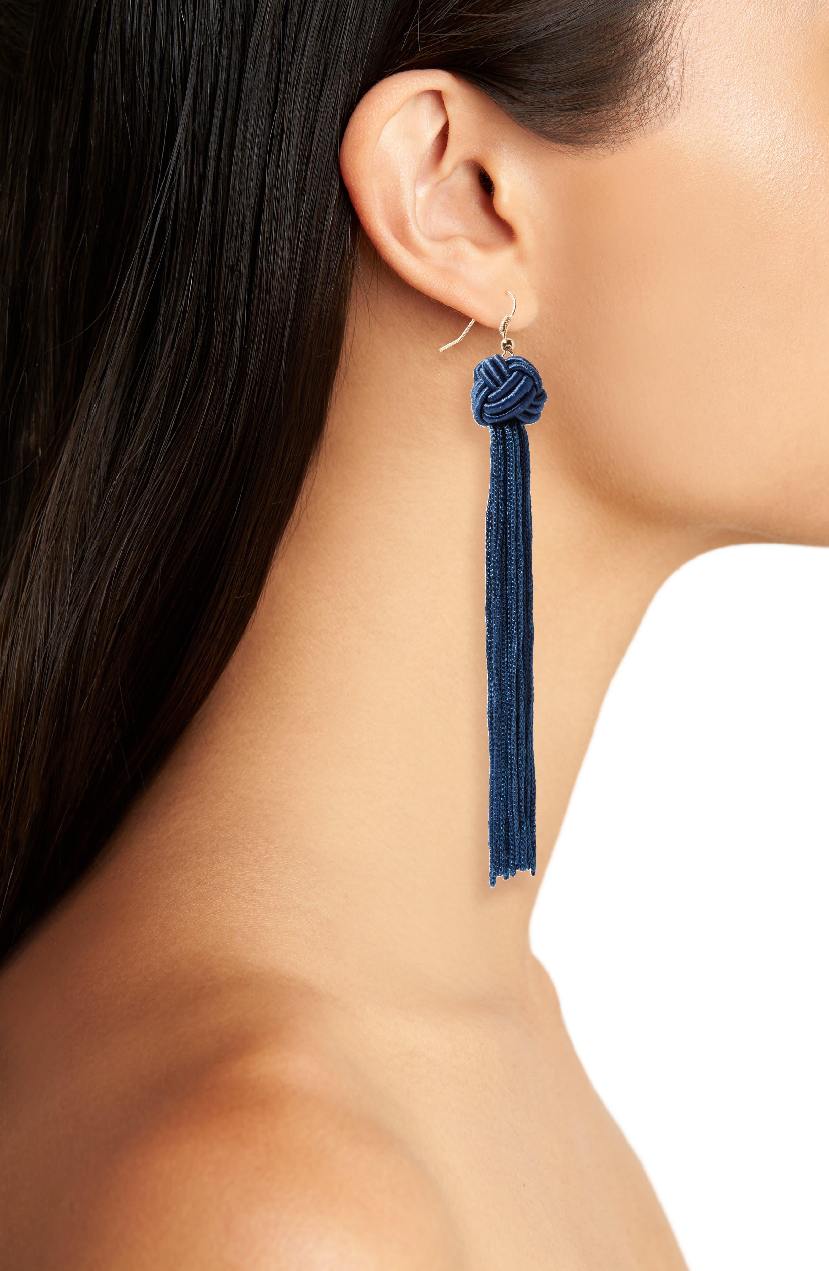 Knot Tassel Earrings,                             Alternate thumbnail 2, color,                             Navy