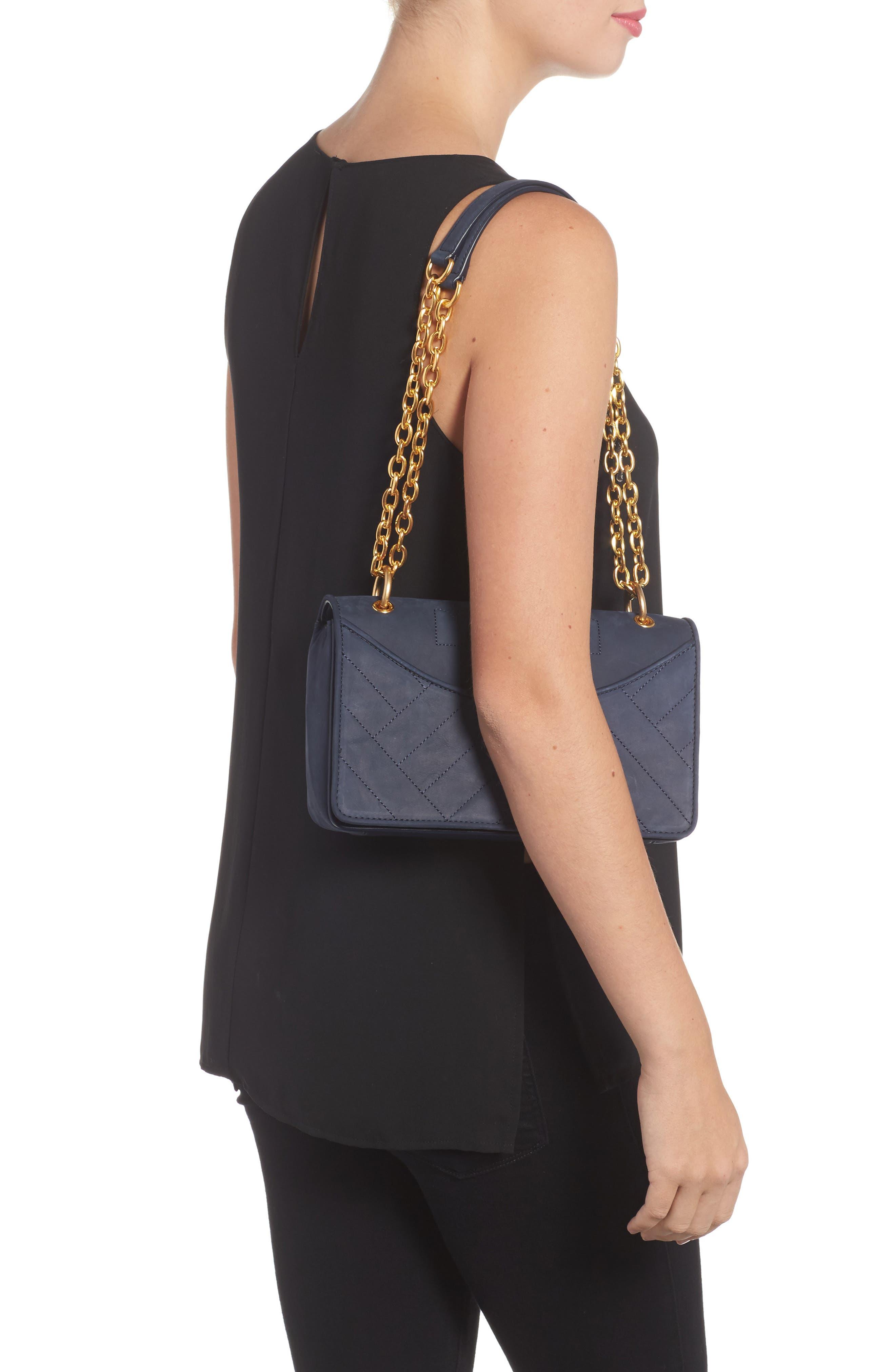 Alexa Leather Shoulder Bag,                             Alternate thumbnail 2, color,                             Royal Navy