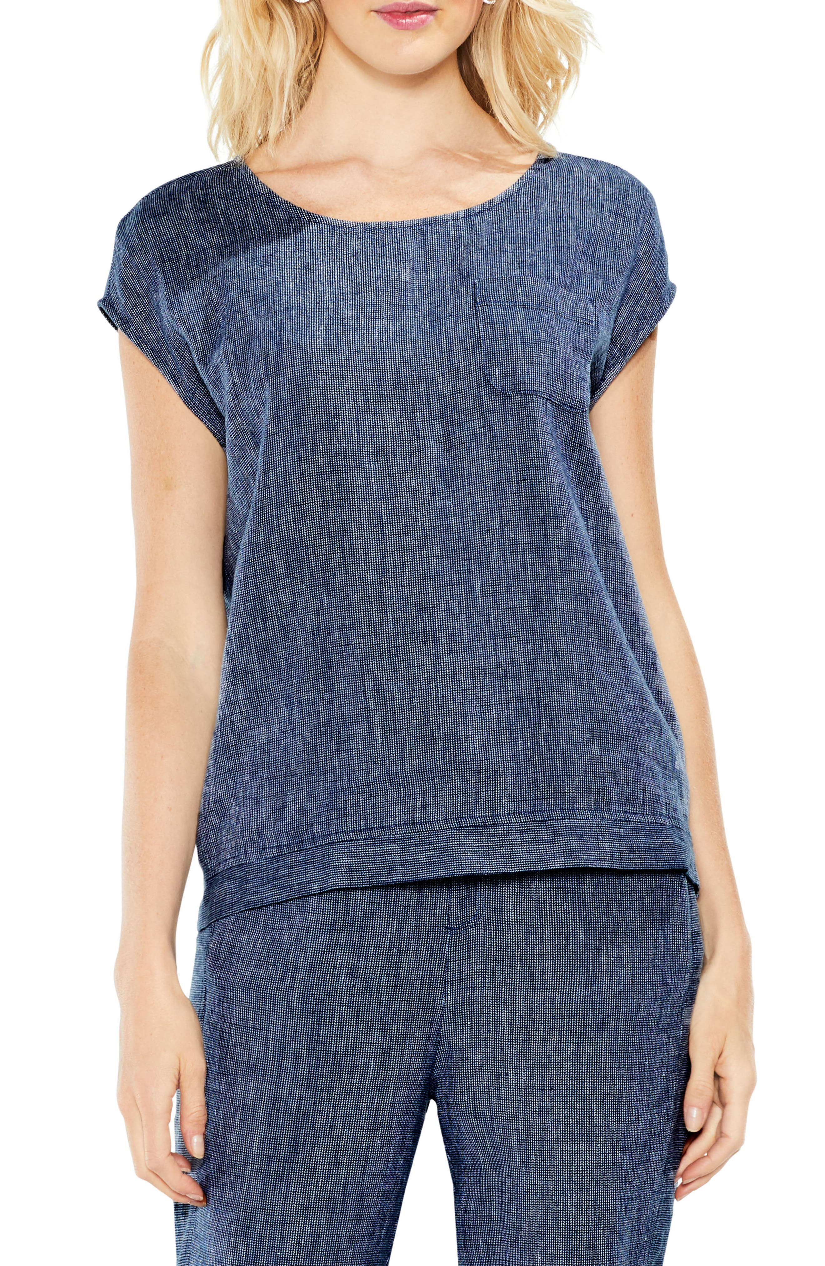 Two by Vince Camuto Drop Shoulder Linen Top
