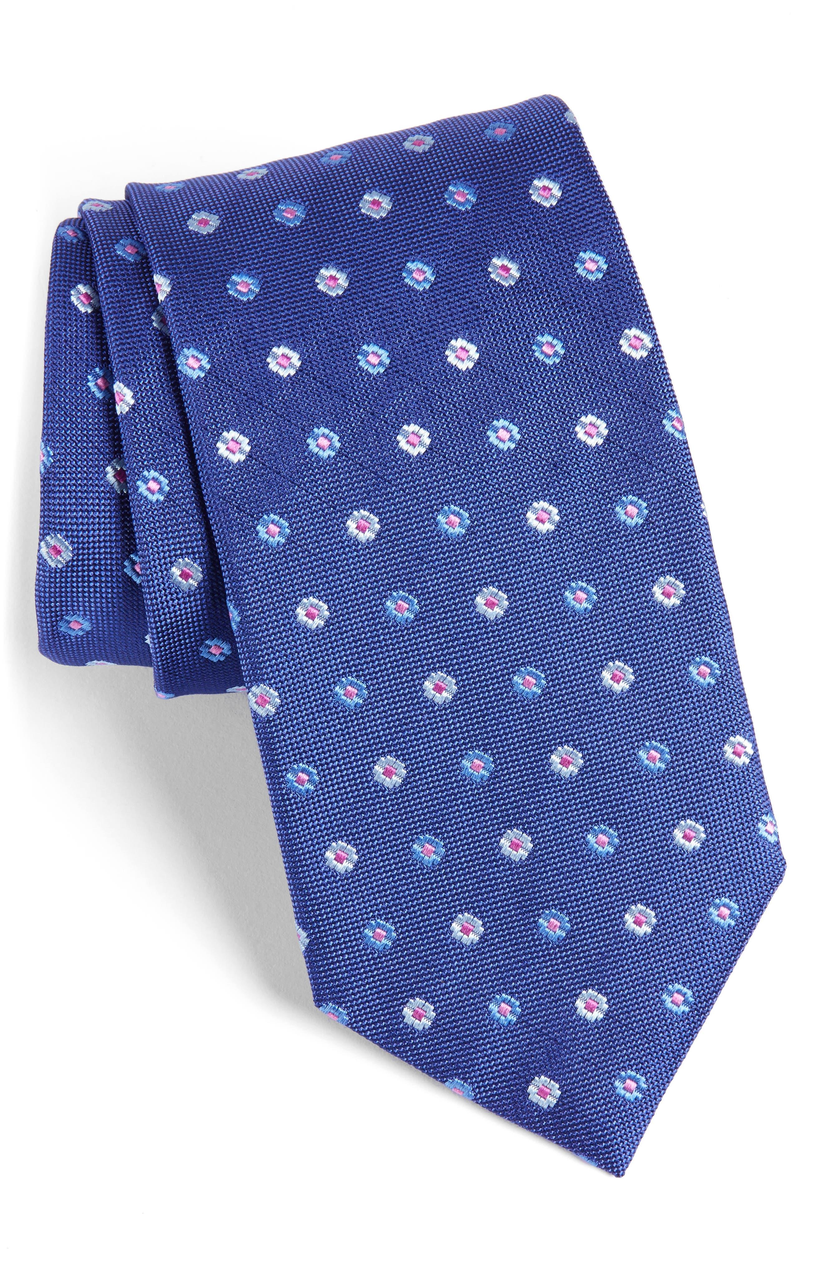 David Donahue Neat Floral Medallion Silk Tie