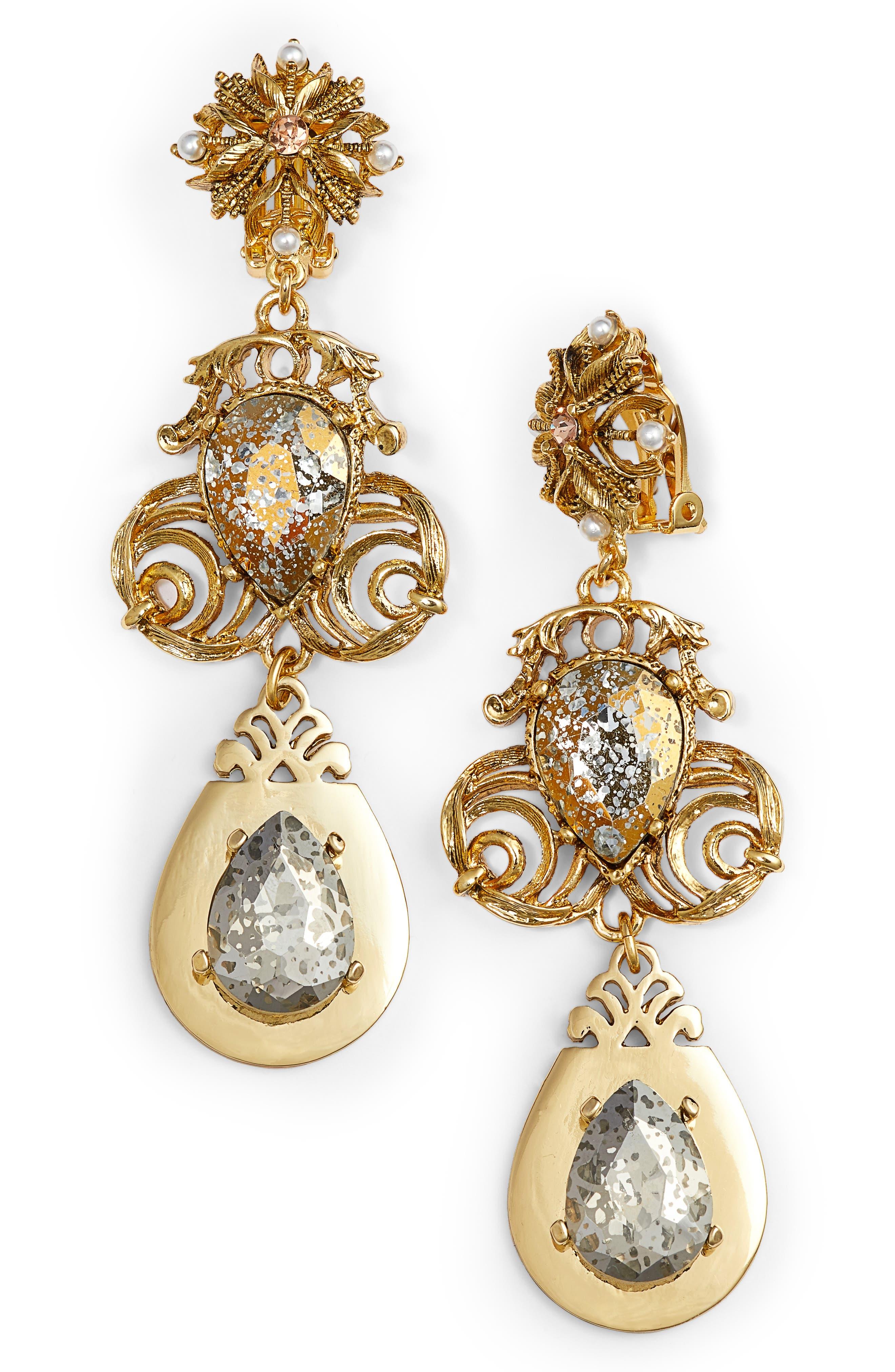 Crystal Drop Clip Earrings,                             Main thumbnail 1, color,                             Gold