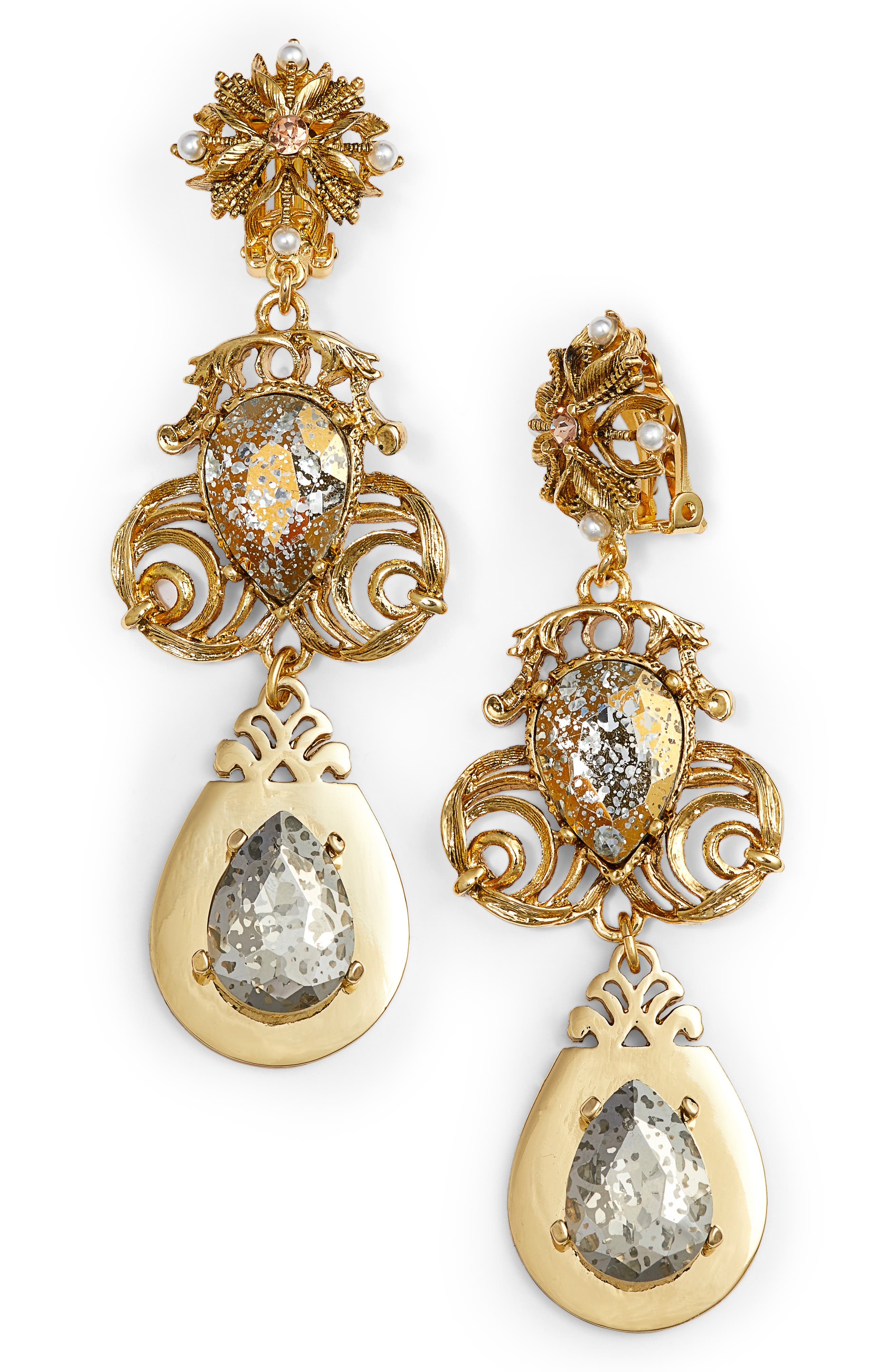 Crystal Drop Clip Earrings,                         Main,                         color, Gold