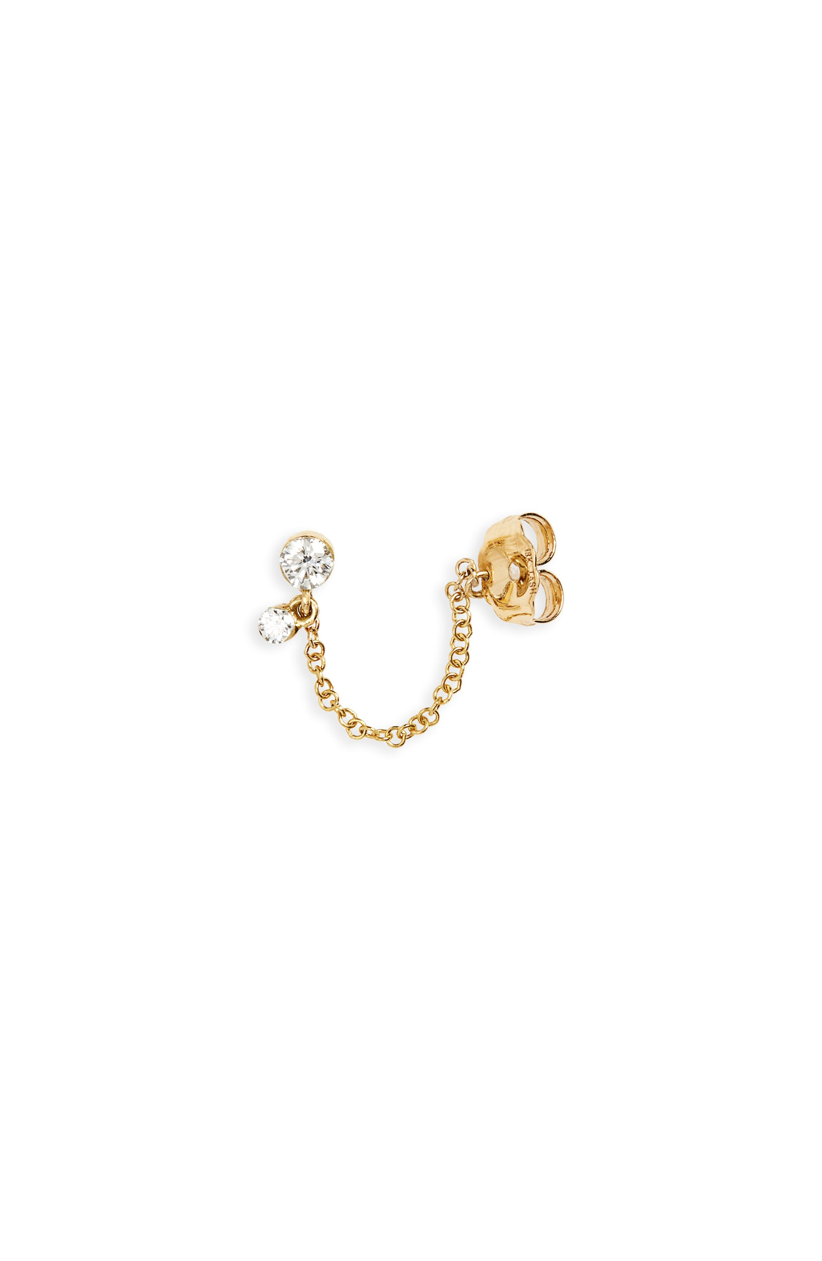 Invisibly Set Diamond Dangle & Chain Stud Earring,                         Main,                         color, Yellow Gold