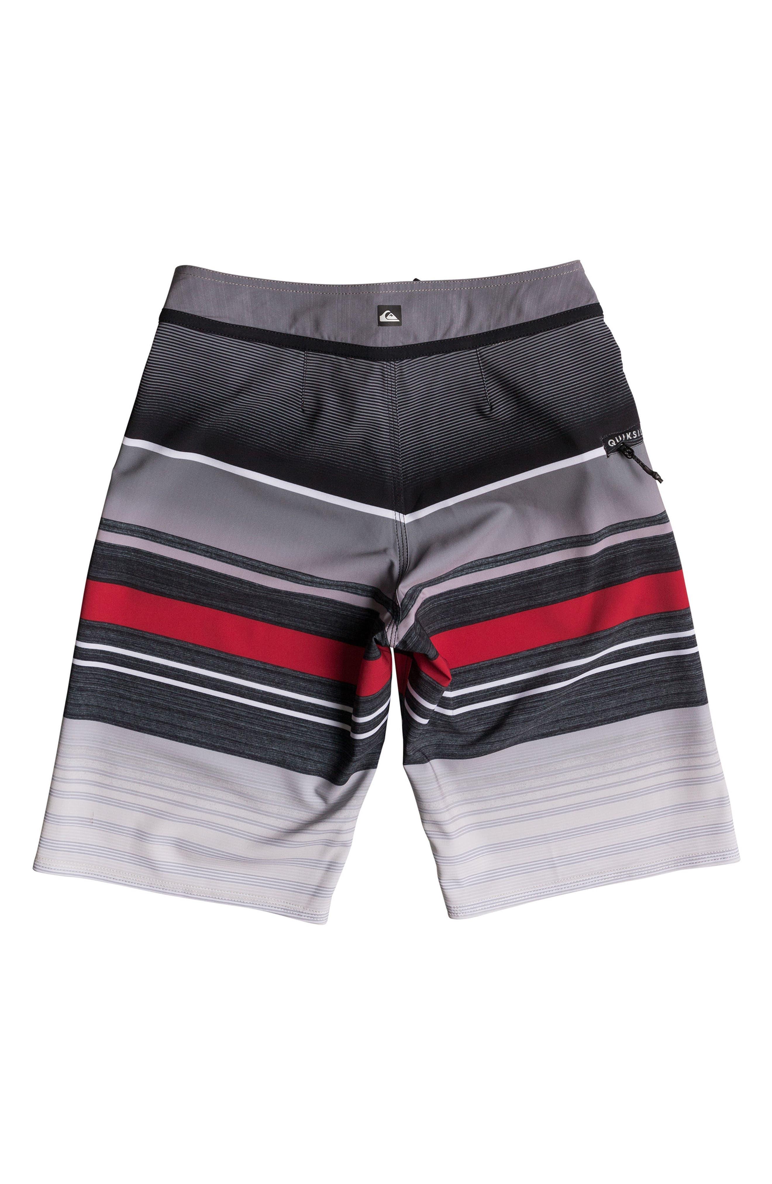 Everyday Stripe Vee Board Shorts,                             Alternate thumbnail 2, color,                             Black