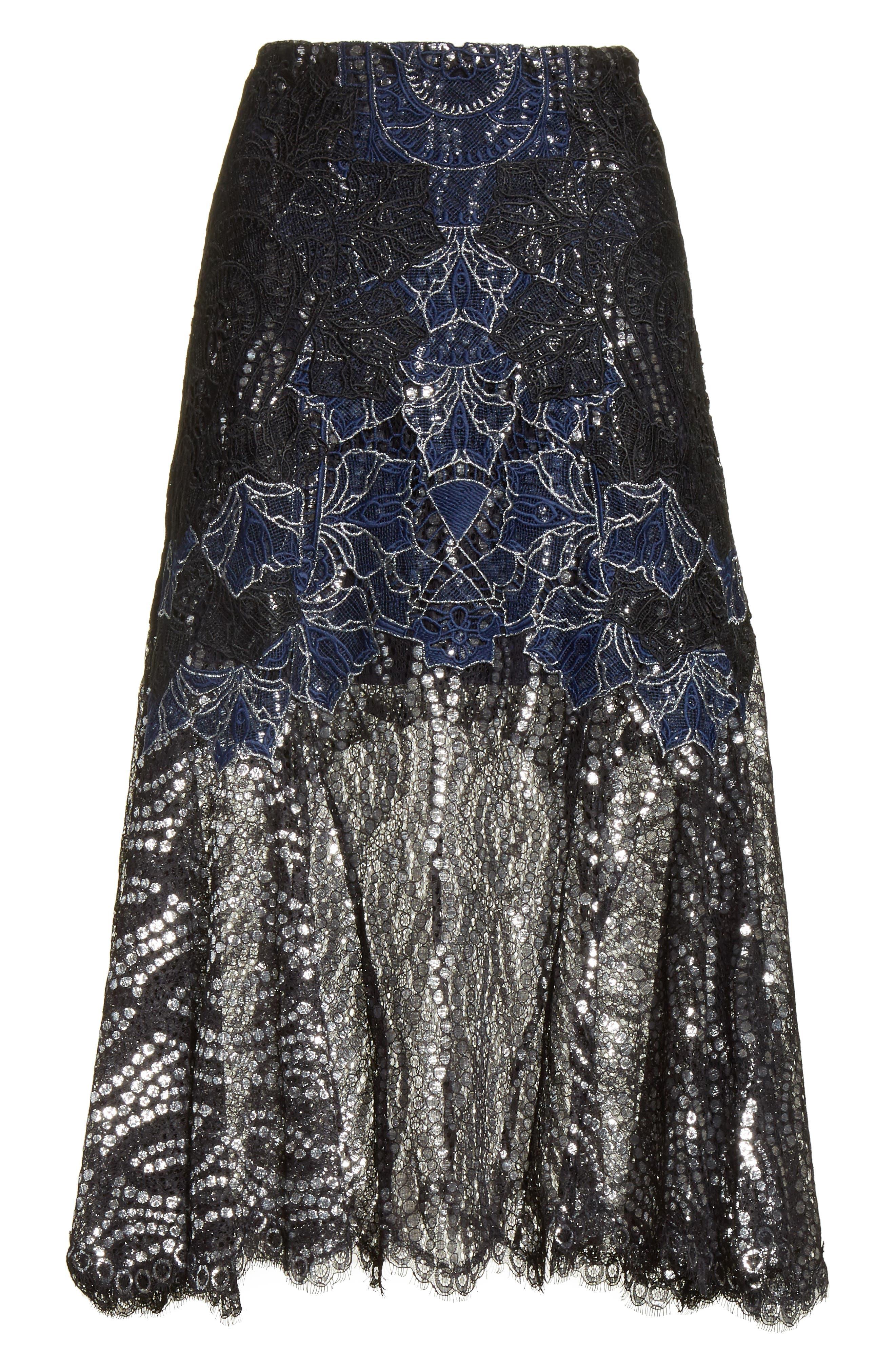 Dimensional Metallic Appliqué Trumpet Skirt,                             Alternate thumbnail 6, color,                             Black