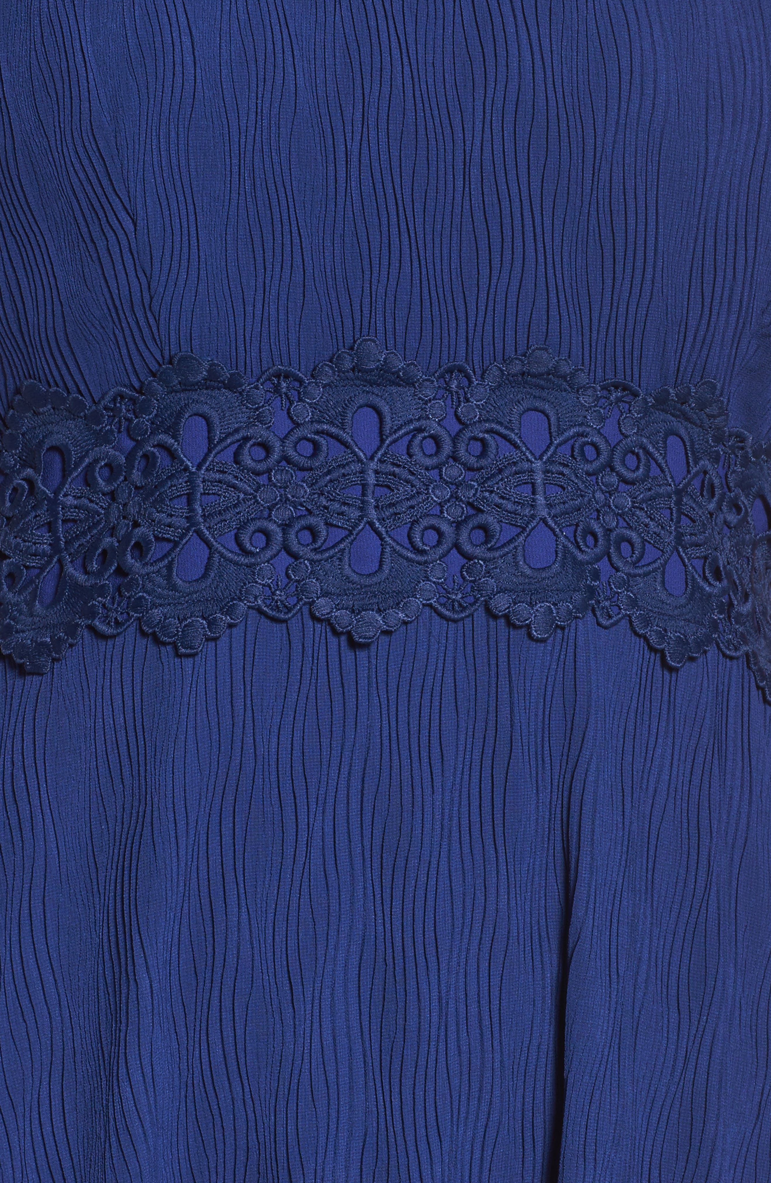 Alternate Image 5  - Foxiedox Isadora Lace Trim Pintuck Midi Dress