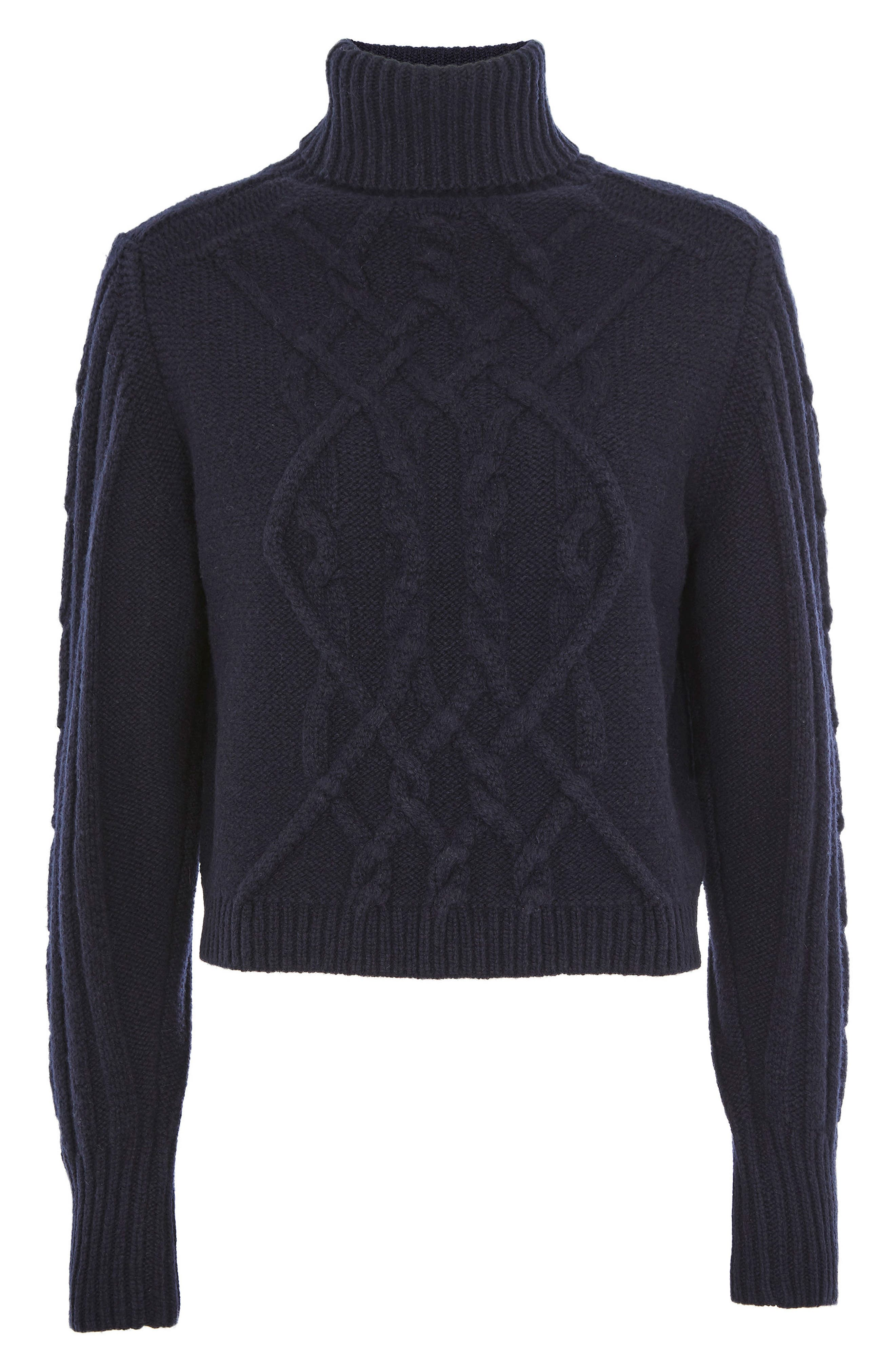 Main Image - Topshop Cable Knit Turtleneck Sweater