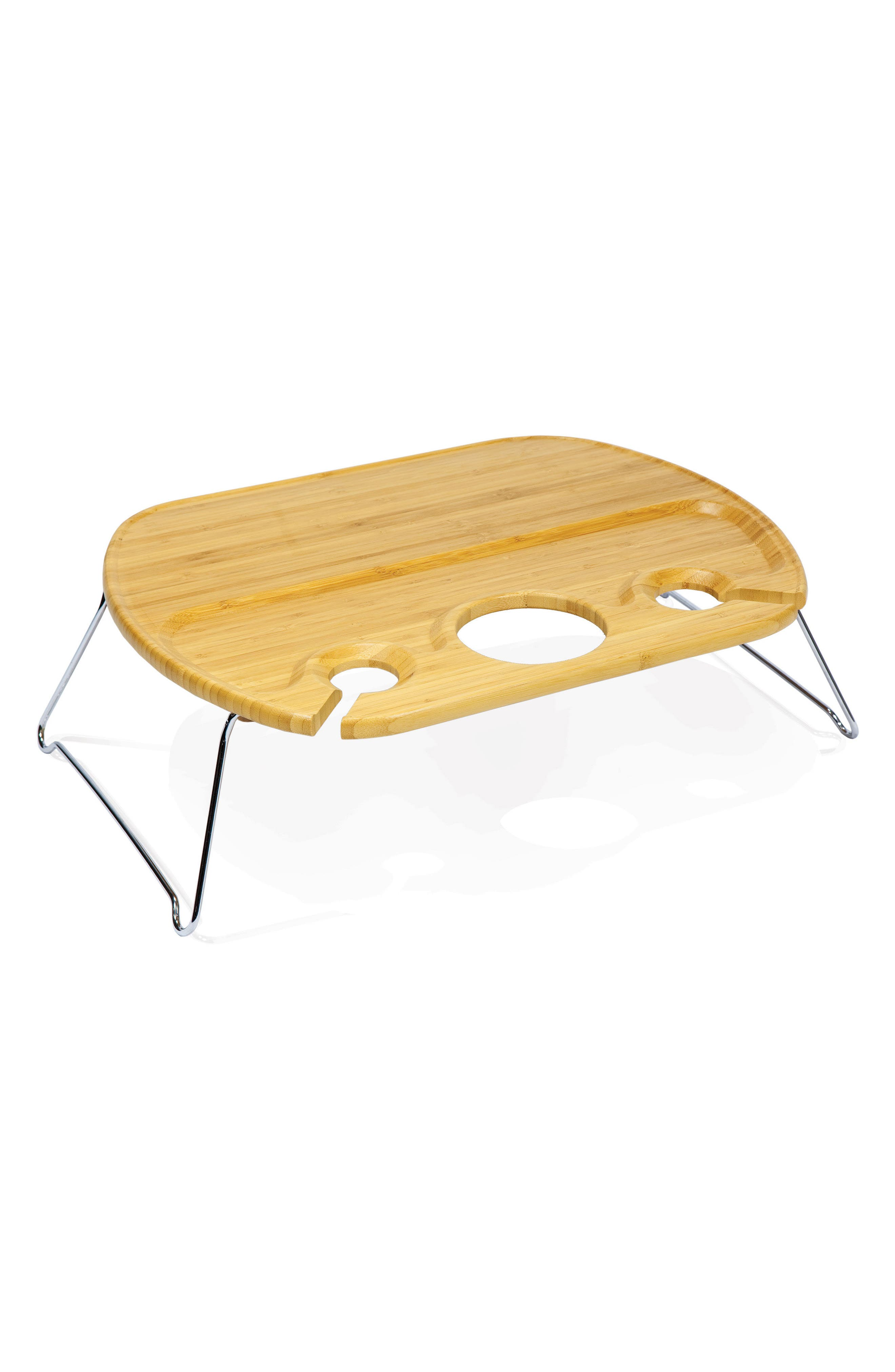 Mesamio Collapsible Wine & Snack Table,                         Main,                         color, Brown