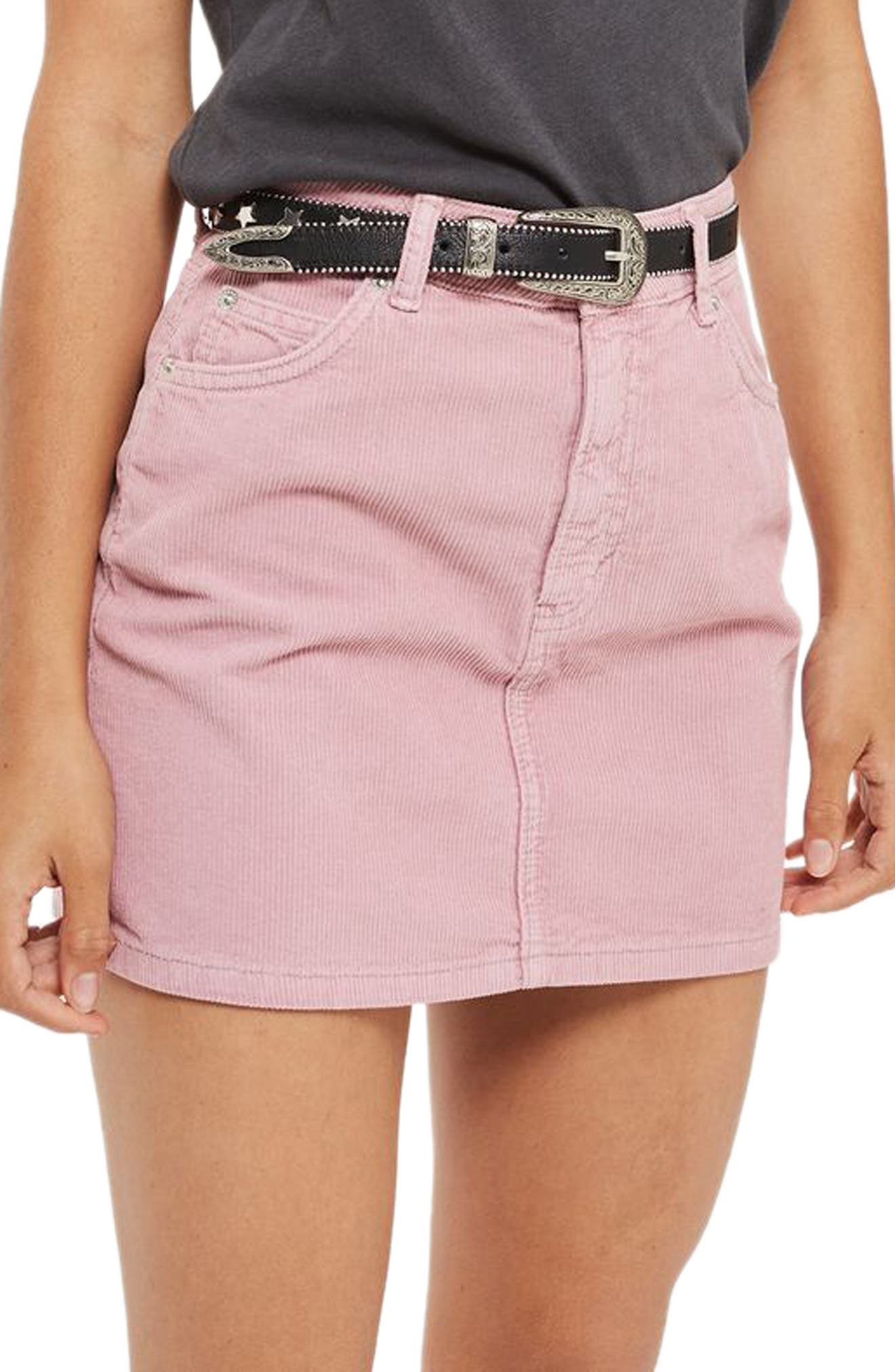 Corduroy Miniskirt,                         Main,                         color, Rose