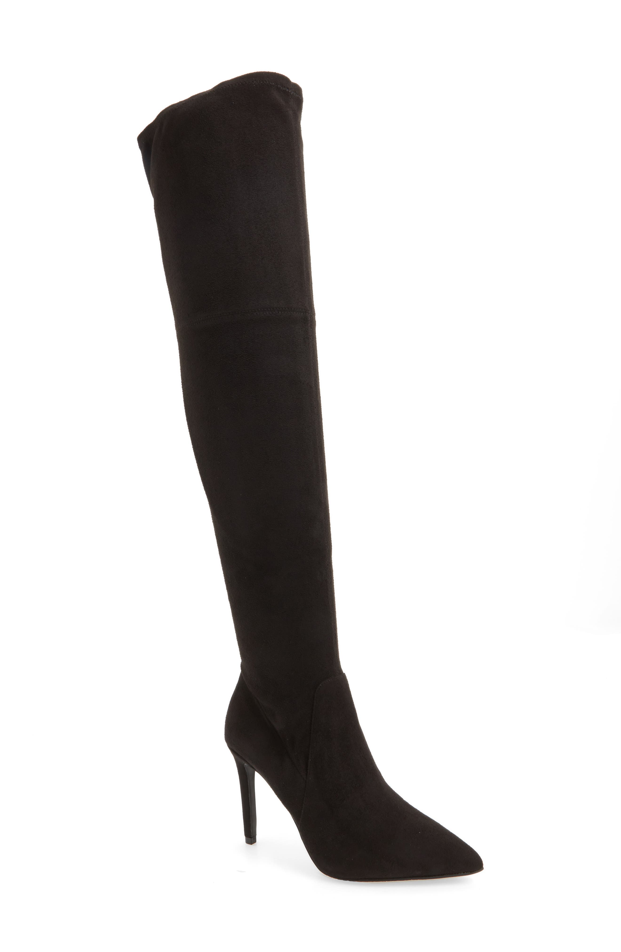 Fab Nara Over the Knee Boot,                             Main thumbnail 1, color,                             Black Stretch Faux Suede