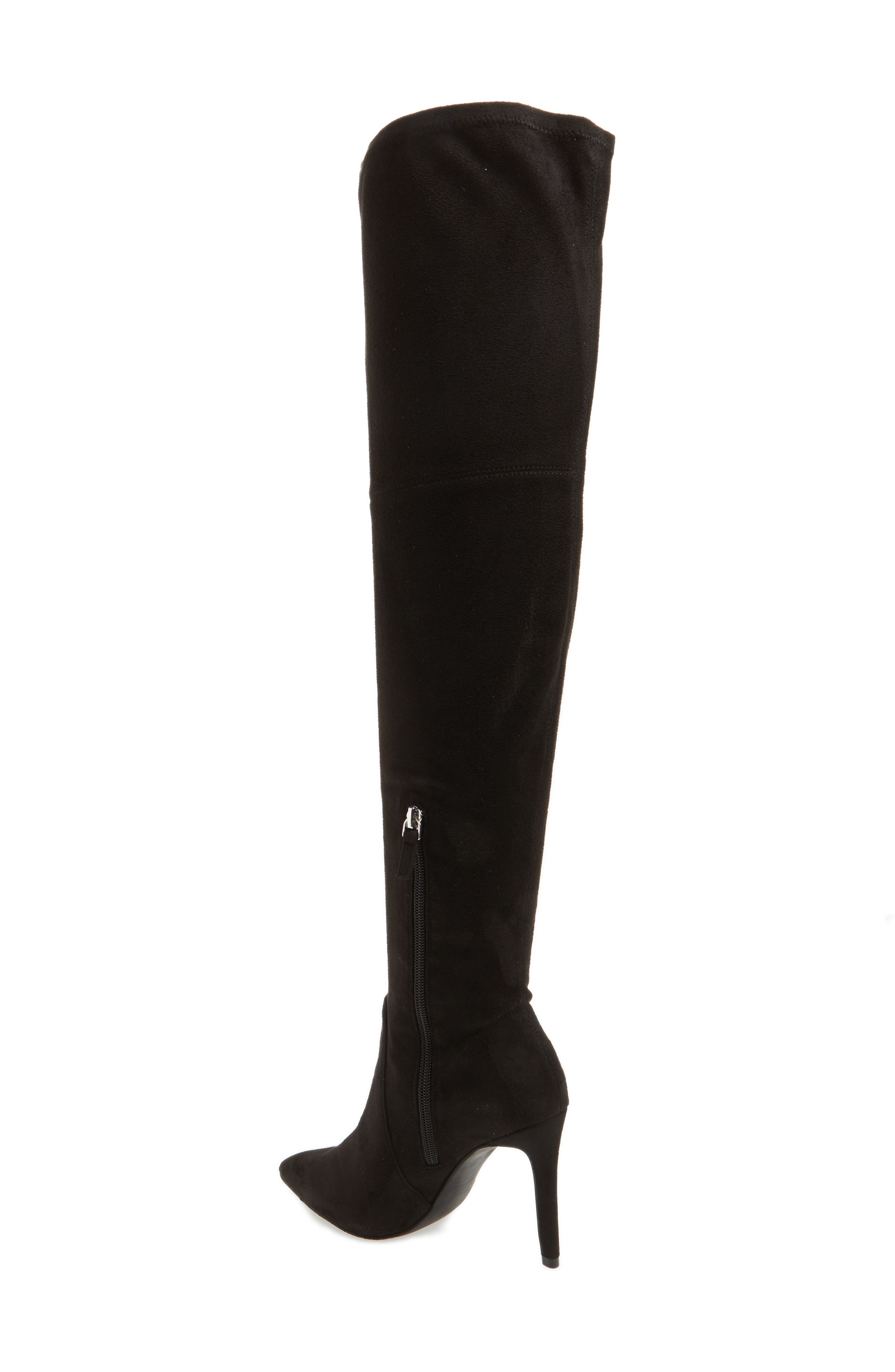Fab Nara Over the Knee Boot,                             Alternate thumbnail 2, color,                             Black Stretch Faux Suede