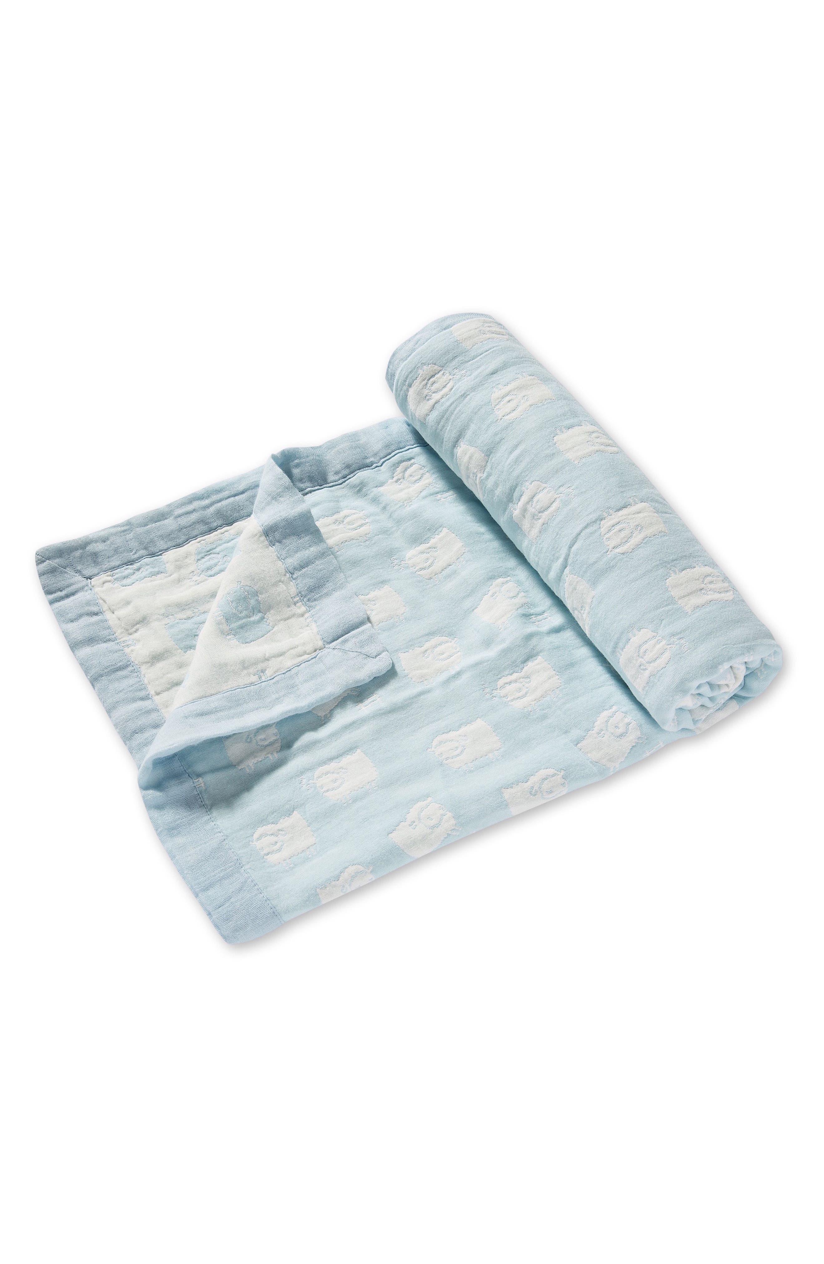 Lamb Jacquard Blanket & Blankie Set,                             Alternate thumbnail 3, color,                             Blue Sheep