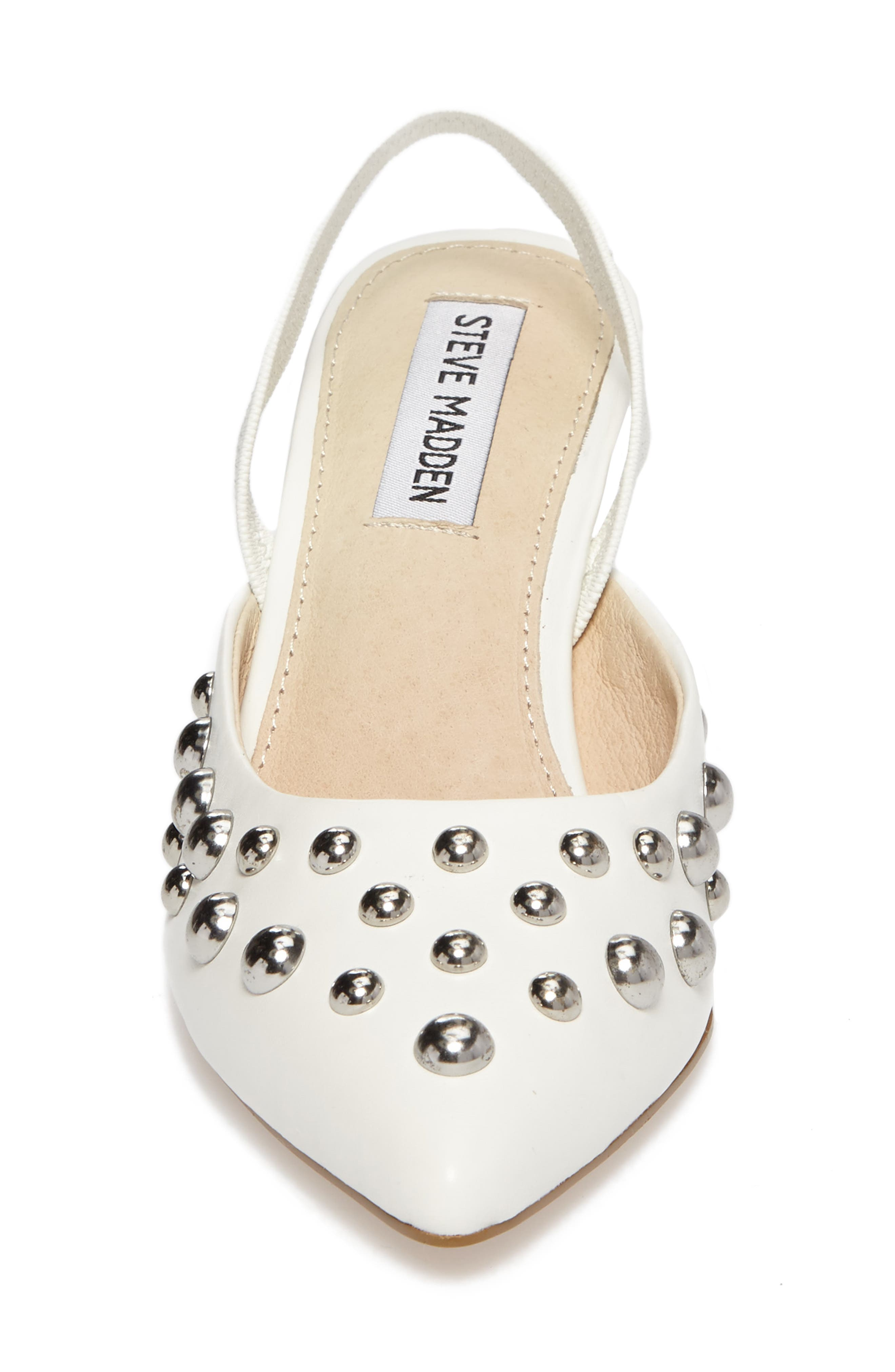 Meteor Studded Pump,                             Alternate thumbnail 4, color,                             White Faux Leather
