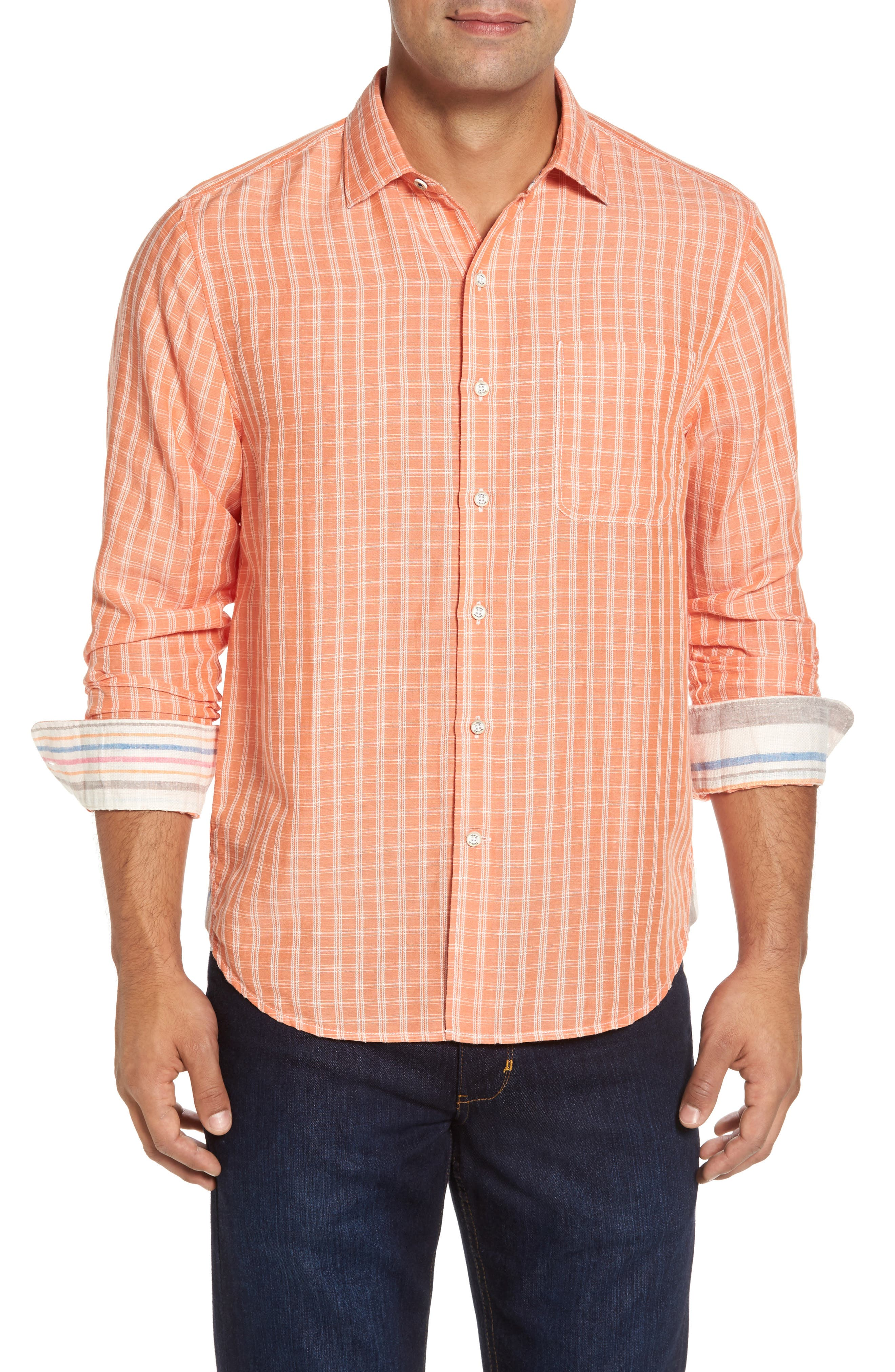 Plaid Sand Linen Blend Sport Shirt,                             Main thumbnail 1, color,                             Curuba