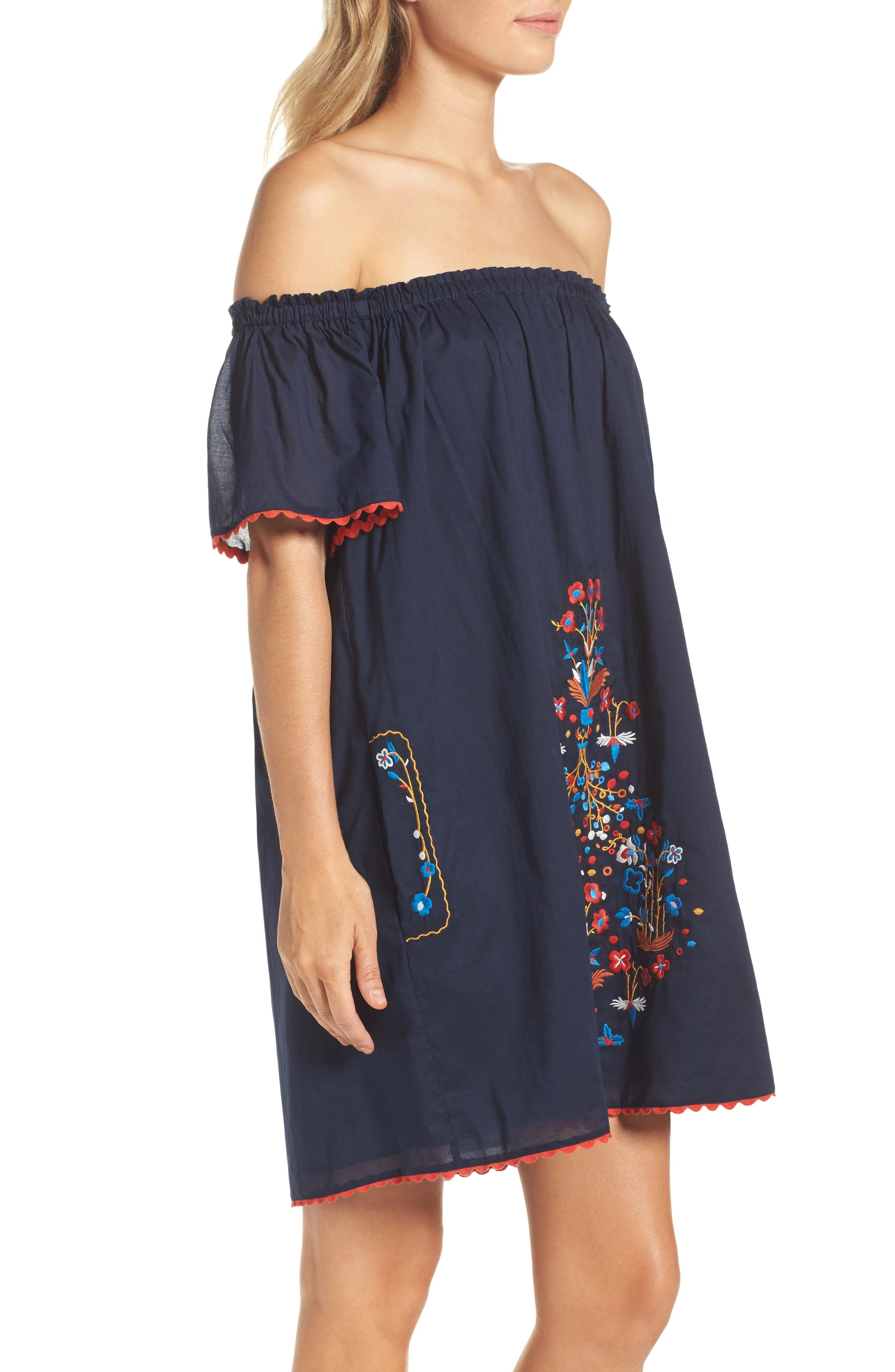 Wildflower Embroidered Off the Shoulder Cover-Up Dress,                             Alternate thumbnail 3, color,                             Tory Navy