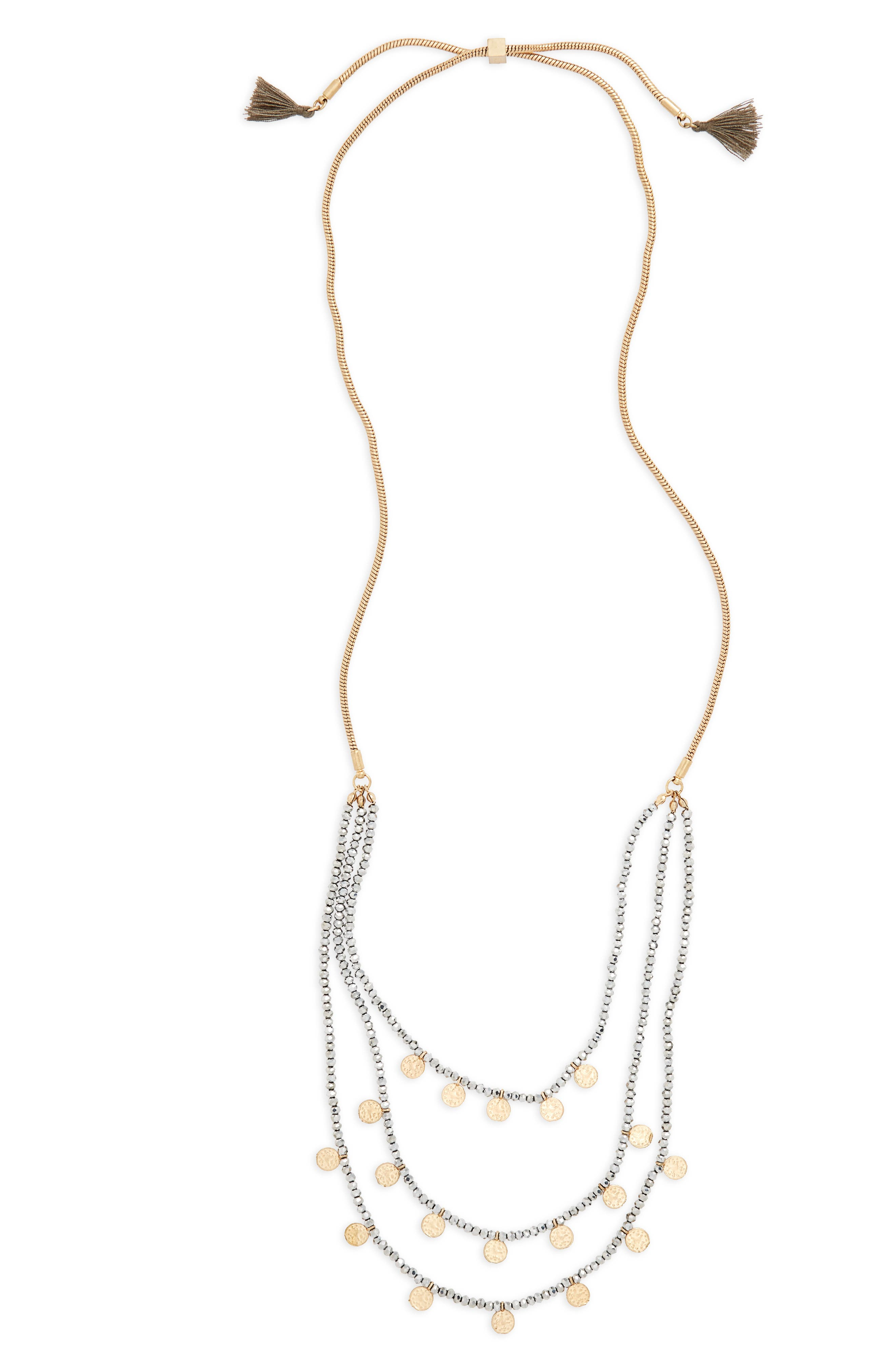Medallion & Bead Necklace,                         Main,                         color, Silver