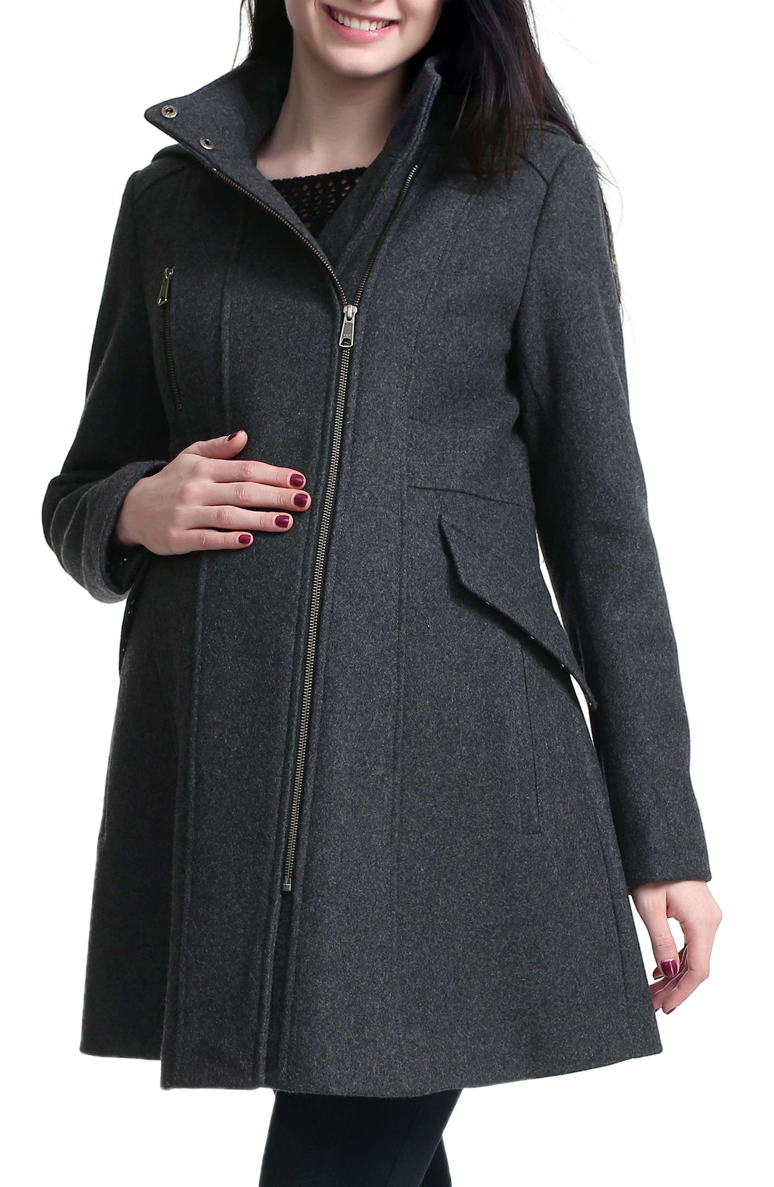 Alternate Image 5  - Kimi and Kai Cordella Wool Blend Hooded Maternity Coat