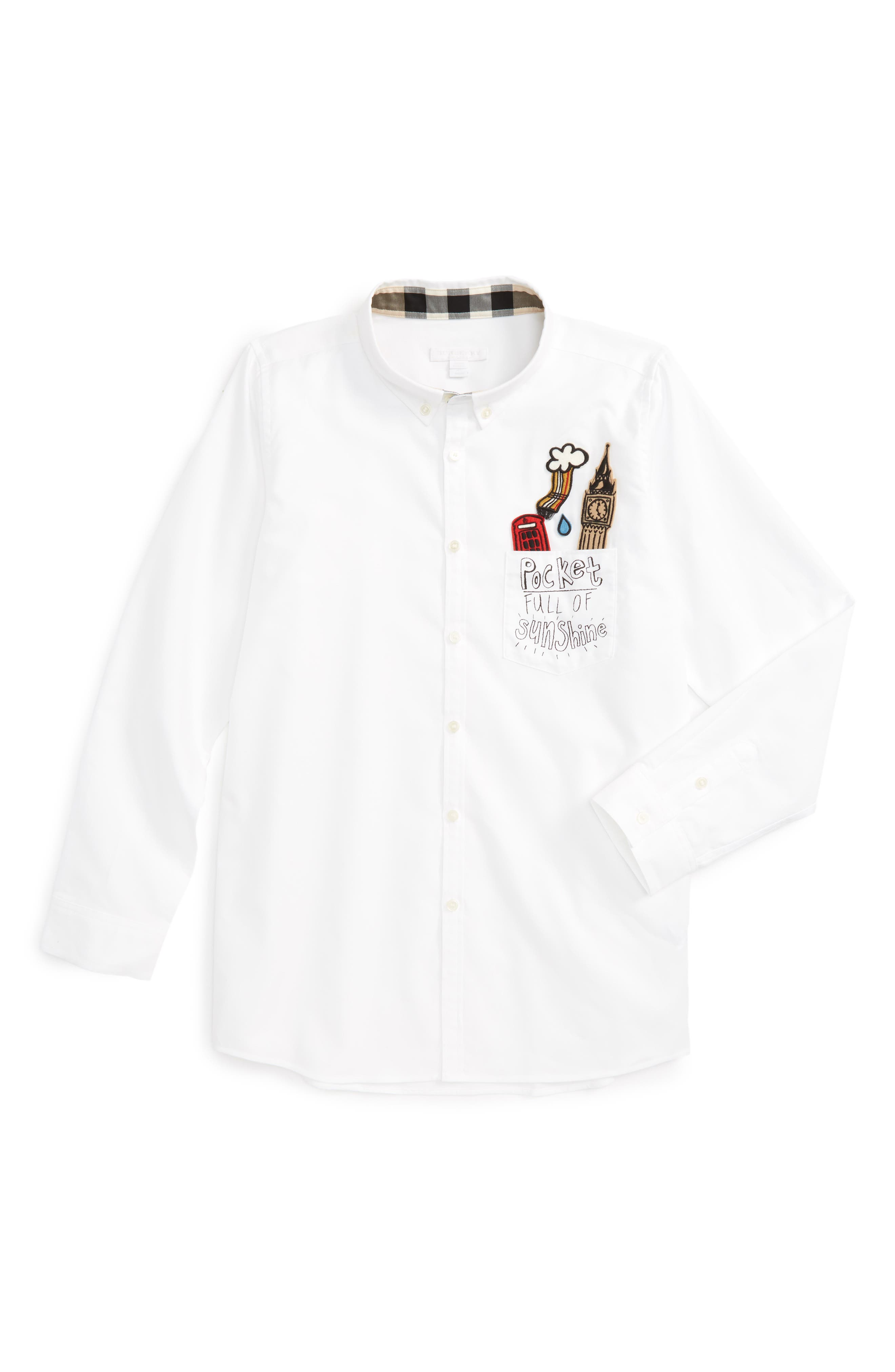 Fred Patches Long Sleeve Woven Shirt,                         Main,                         color, White