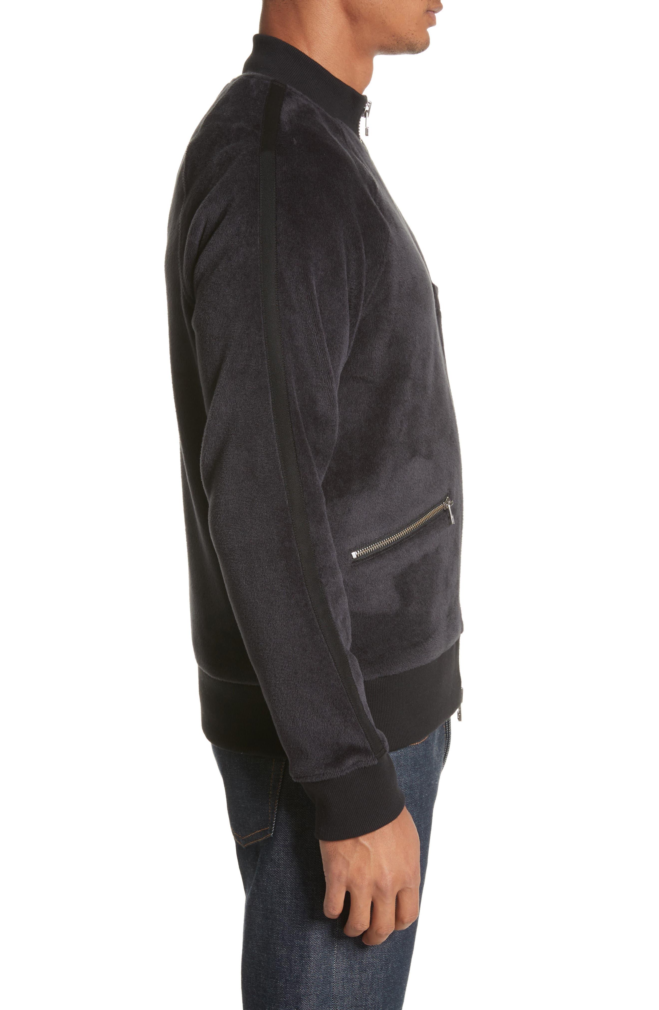 Velour Zip Jacket,                             Alternate thumbnail 3, color,                             Faded Blue