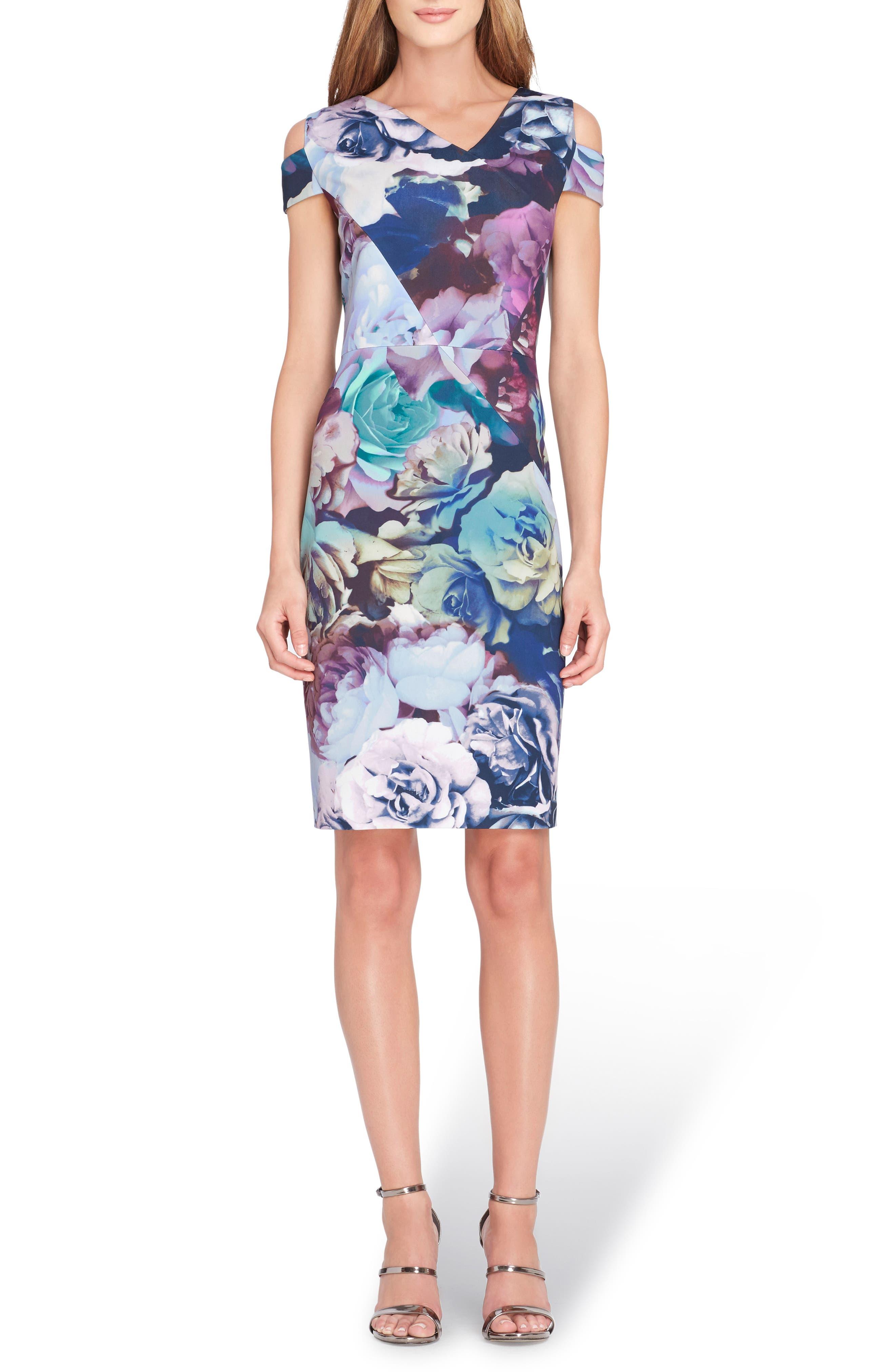Cold Shoulder Sheath Dress,                             Main thumbnail 1, color,                             Navy/ Berry/ Sage