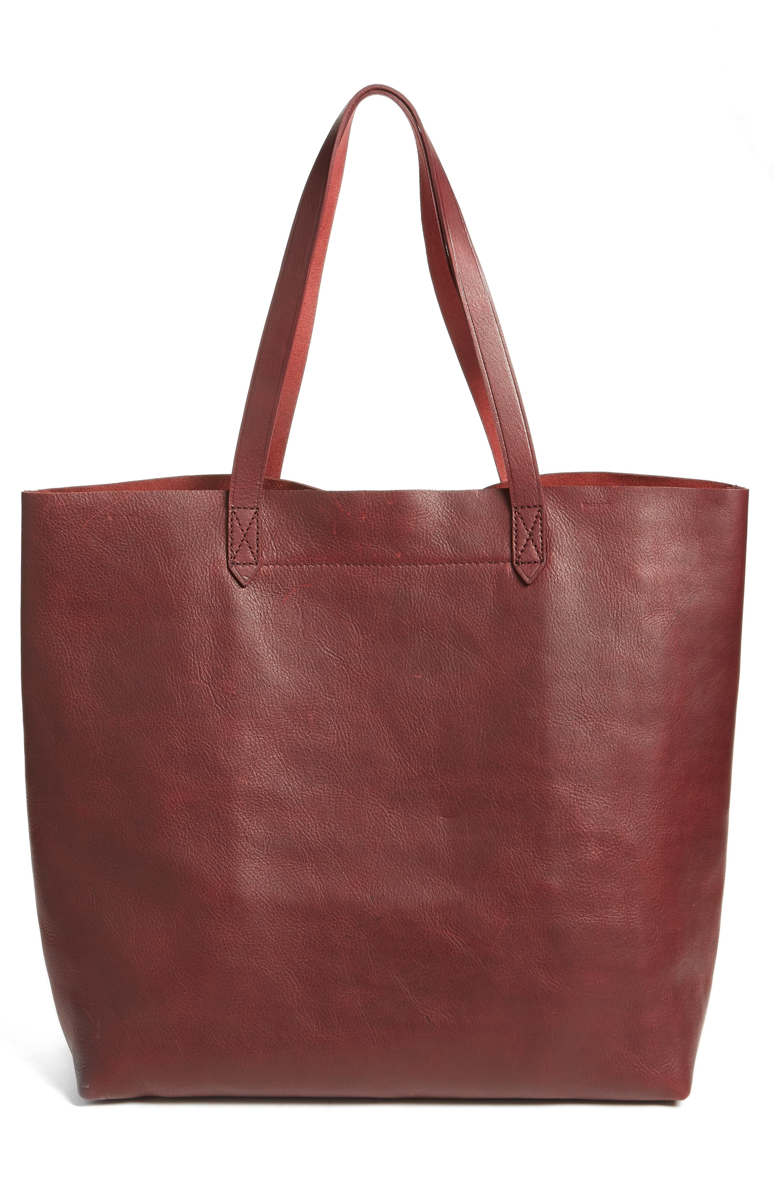 Transport Leather Tote,                             Alternate thumbnail 3, color,                             Dark Cocoa