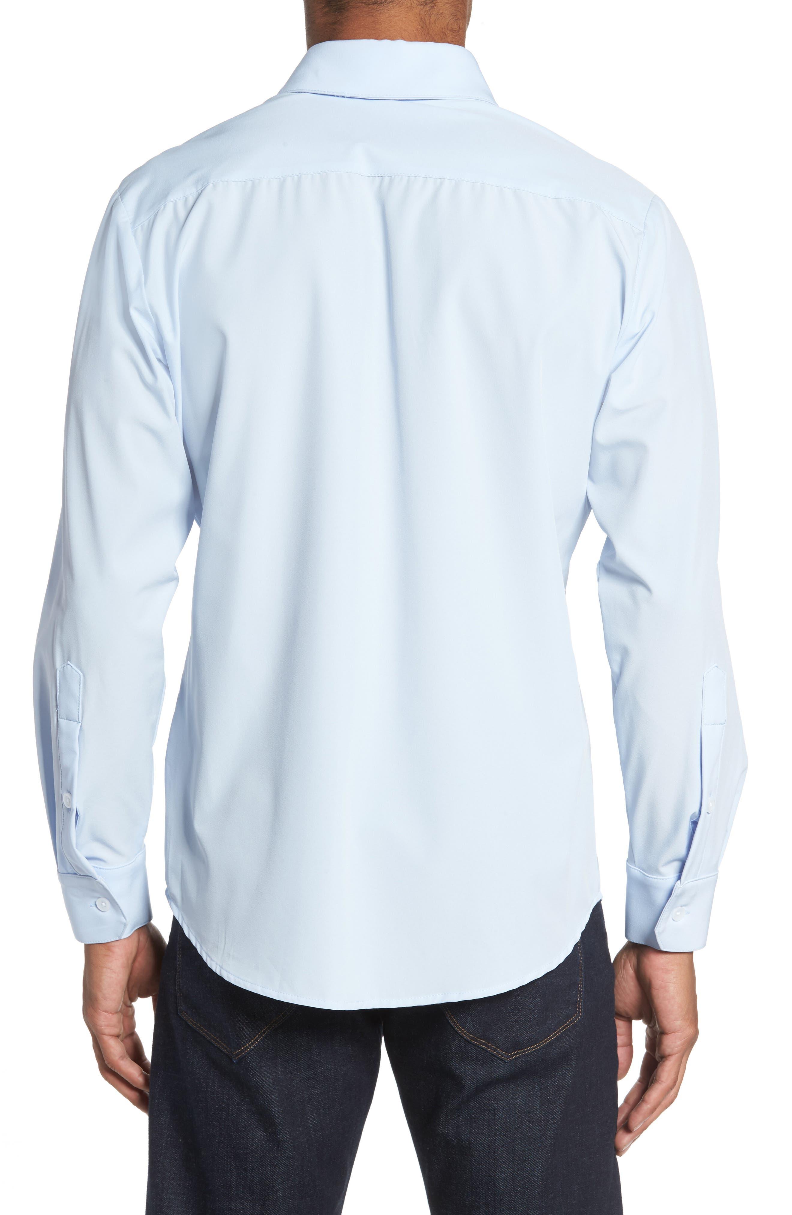 Blue Label Nelson Slim Fit Sport Shirt,                             Alternate thumbnail 3, color,                             Blue