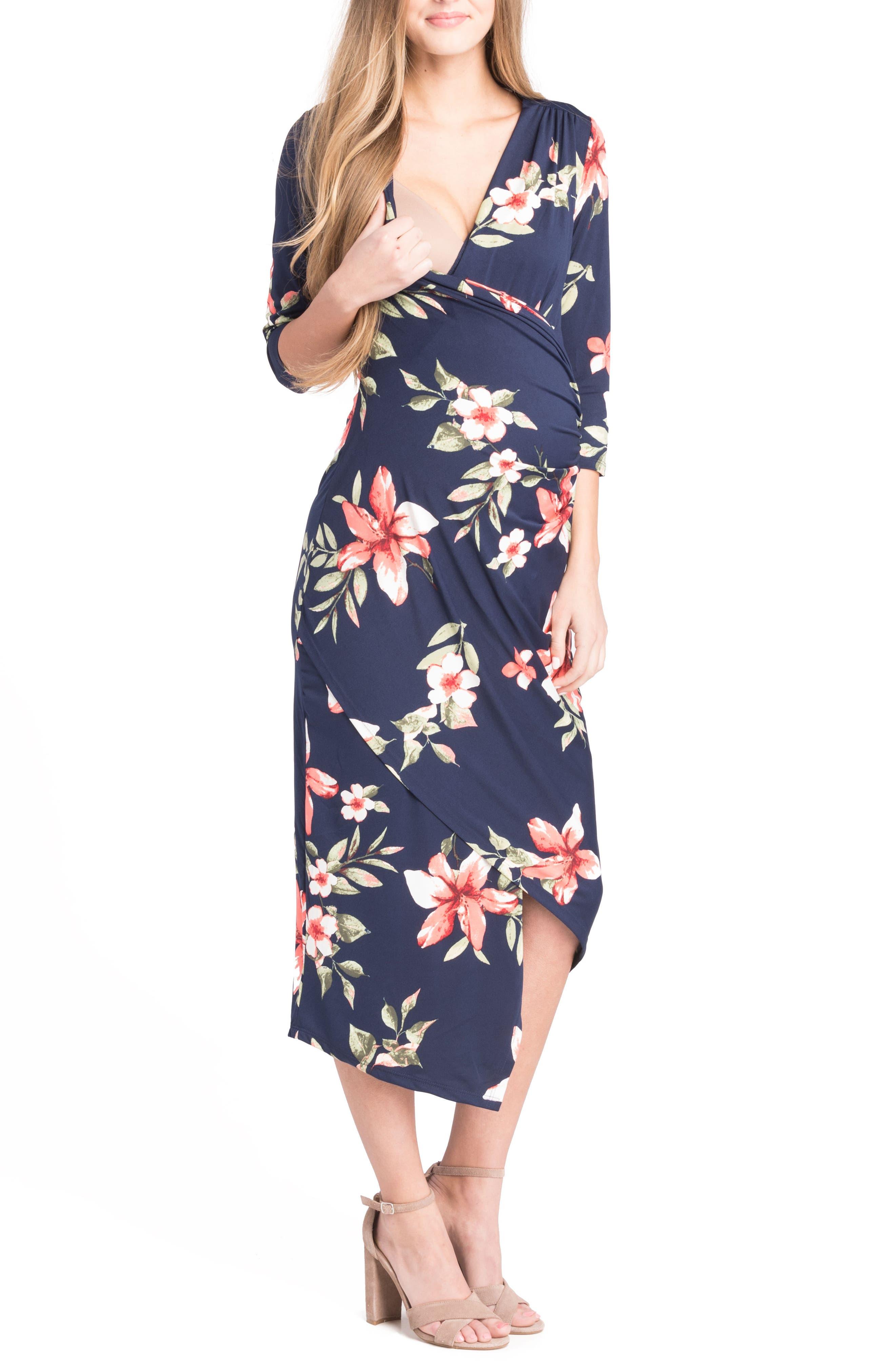 Alternate Image 3  - Lilac Clothing Asymmetrical Surplice Maternity/Nursing Dress
