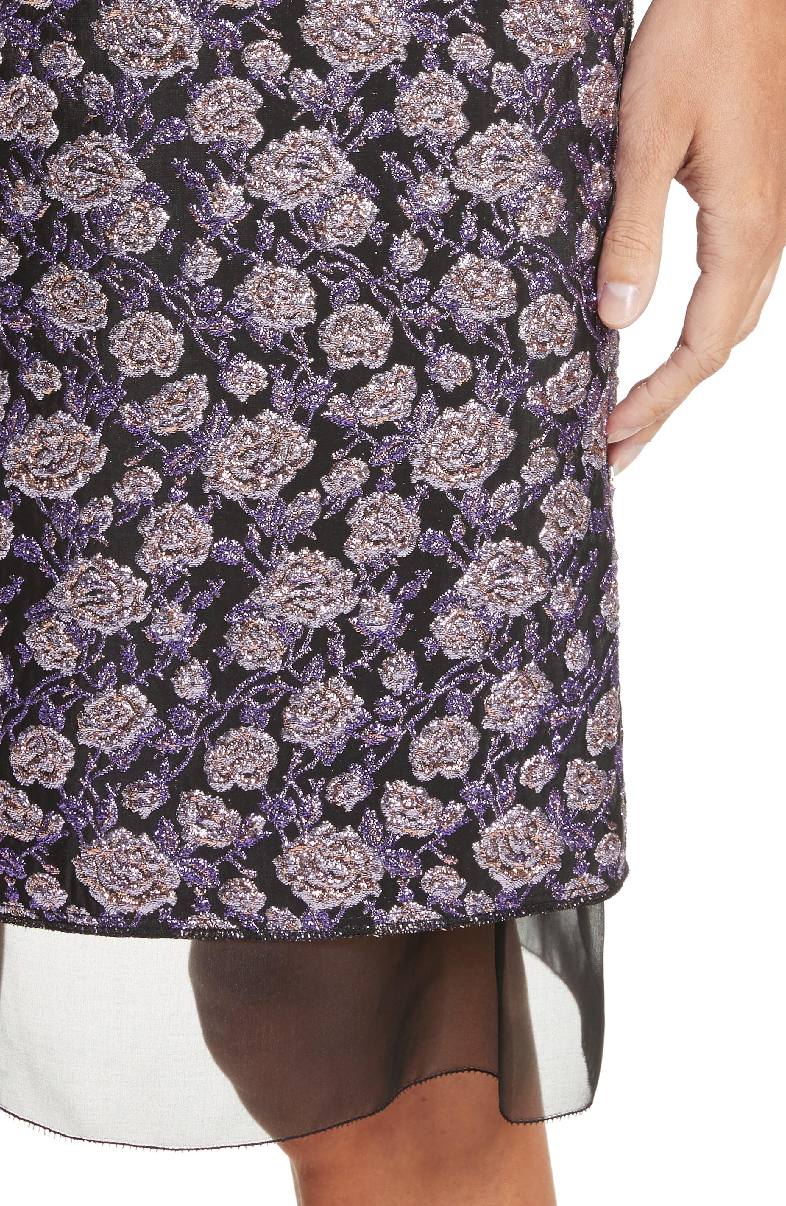 Metallic Jacquard Pencil Skirt,                             Alternate thumbnail 4, color,                             Purple Multi